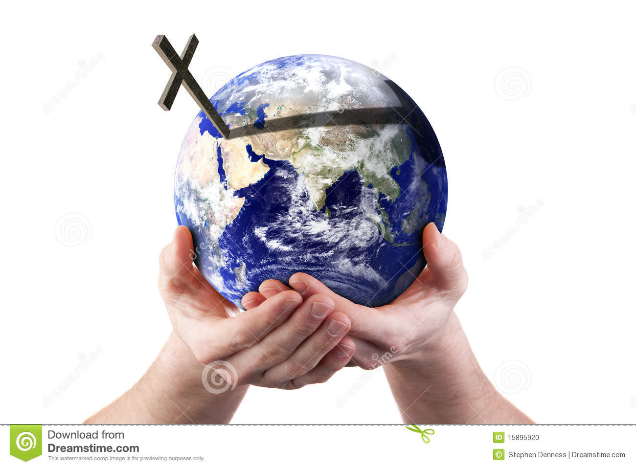 jesus on the cross with the world in his hands stock photo image