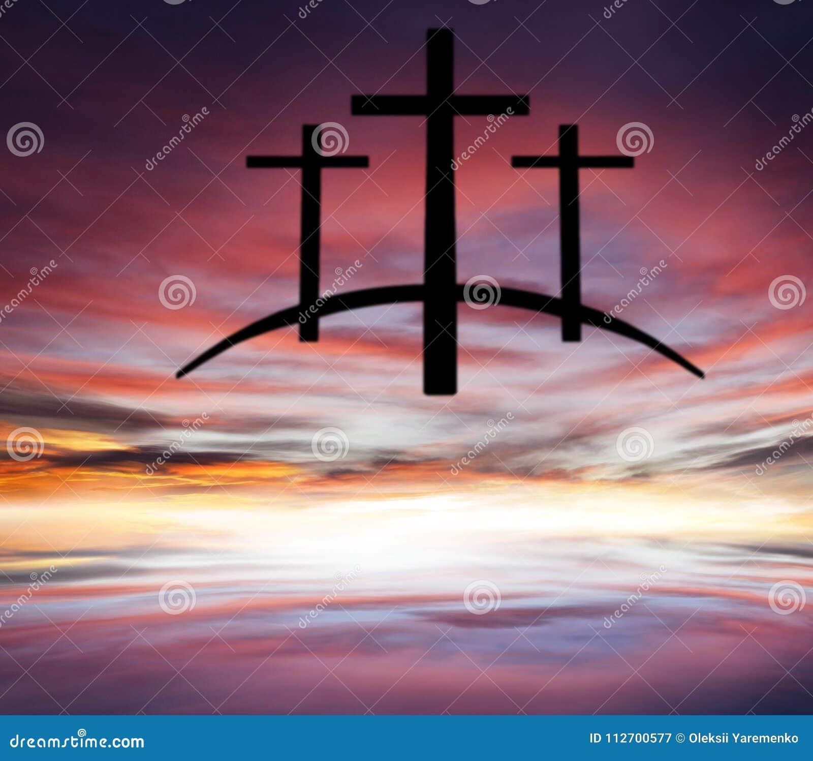 God`s cross . Light in dark sky . Religion background .