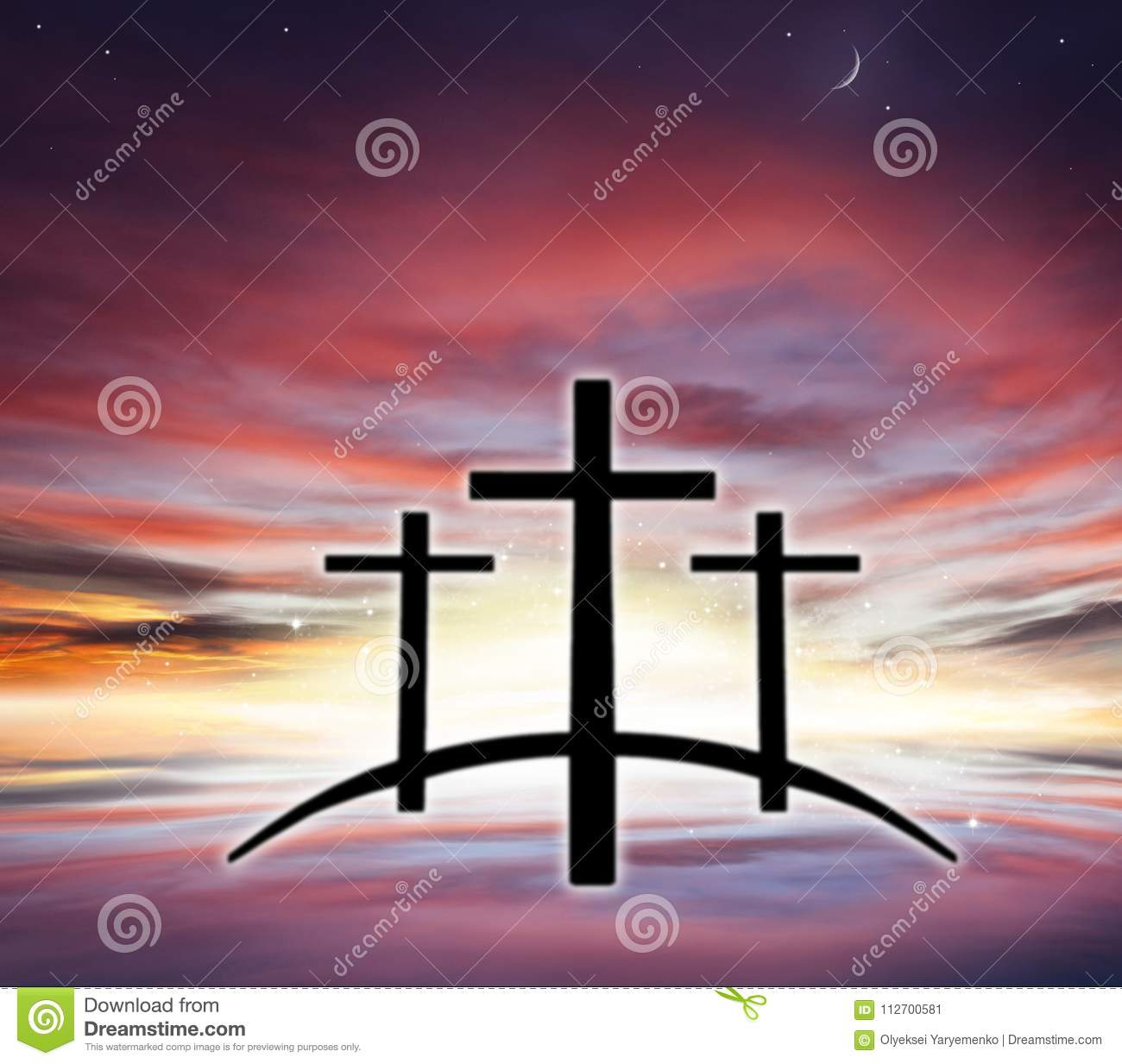 Gods Cross Light In Dark Sky Religion Background Stock Image