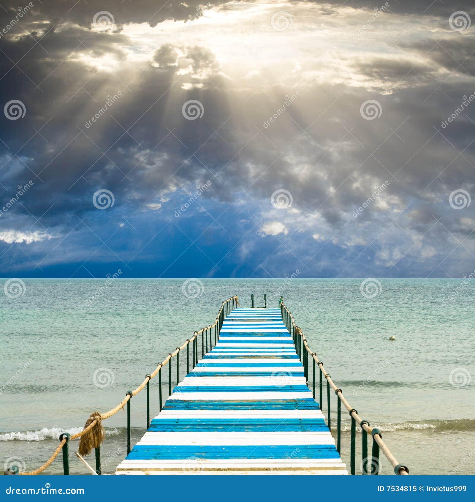 God s light is over a pier