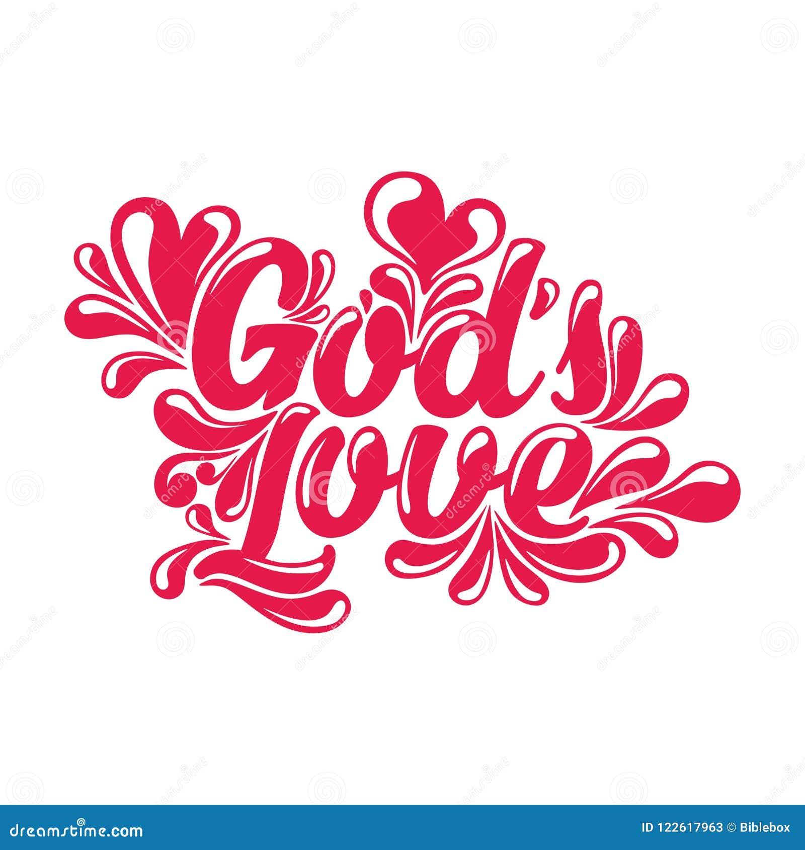 God`s Love Lettering  Christian Symbols Stock Vector
