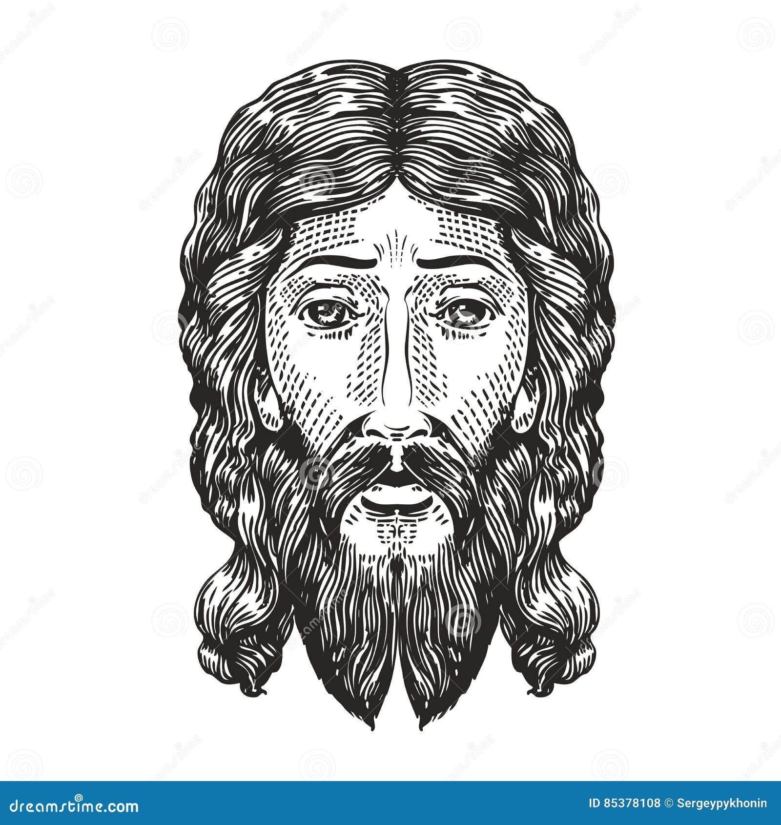 God Sketch. Jesus Christ Drawn In Engraving Style. Vintage Vector ...