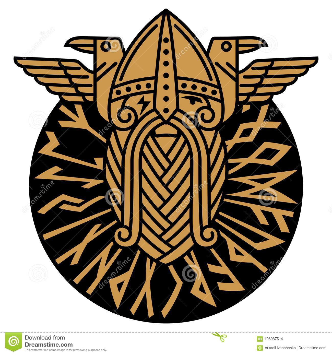 God Wotan and two ravens in a circle of Norse runes. Illustration of Norse mythology