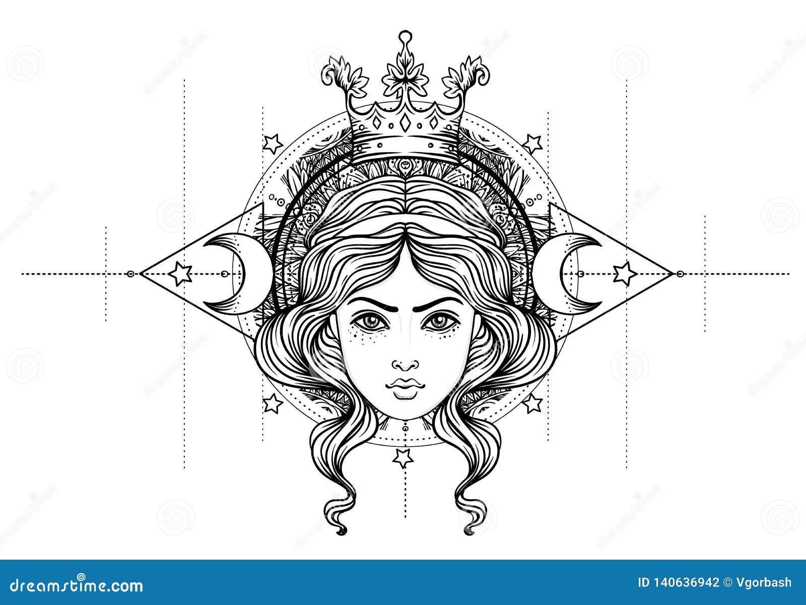 Goddelijke Godin Zwart-wit meisje over heilig meetkundeteken, geïsoleerde illustratie Tatoegeringsschets Mystiek symbool