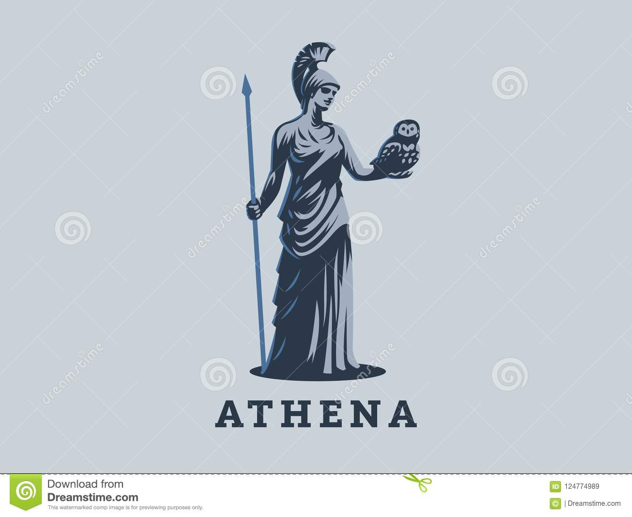 The Goddess Athena Stock Vector Illustration Of Isolated