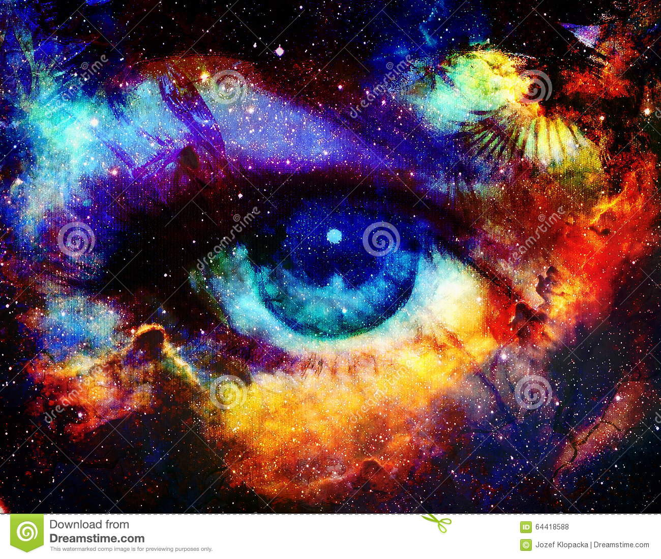 Goddess Eye And Color Space Background With Stars Stock