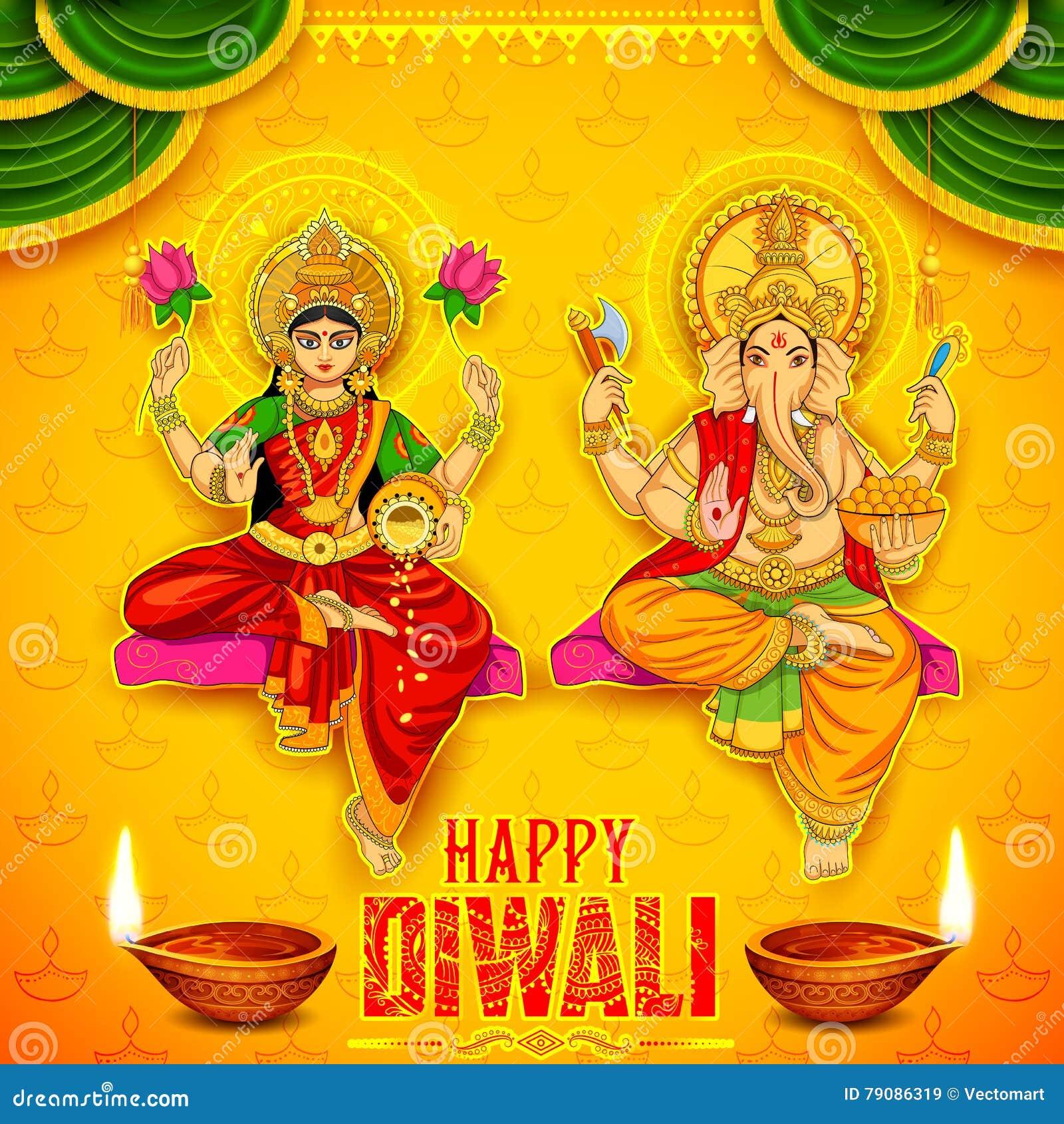 Goddess Lakshmi And Lord Ganesha On Happy Diwali Holiday ...