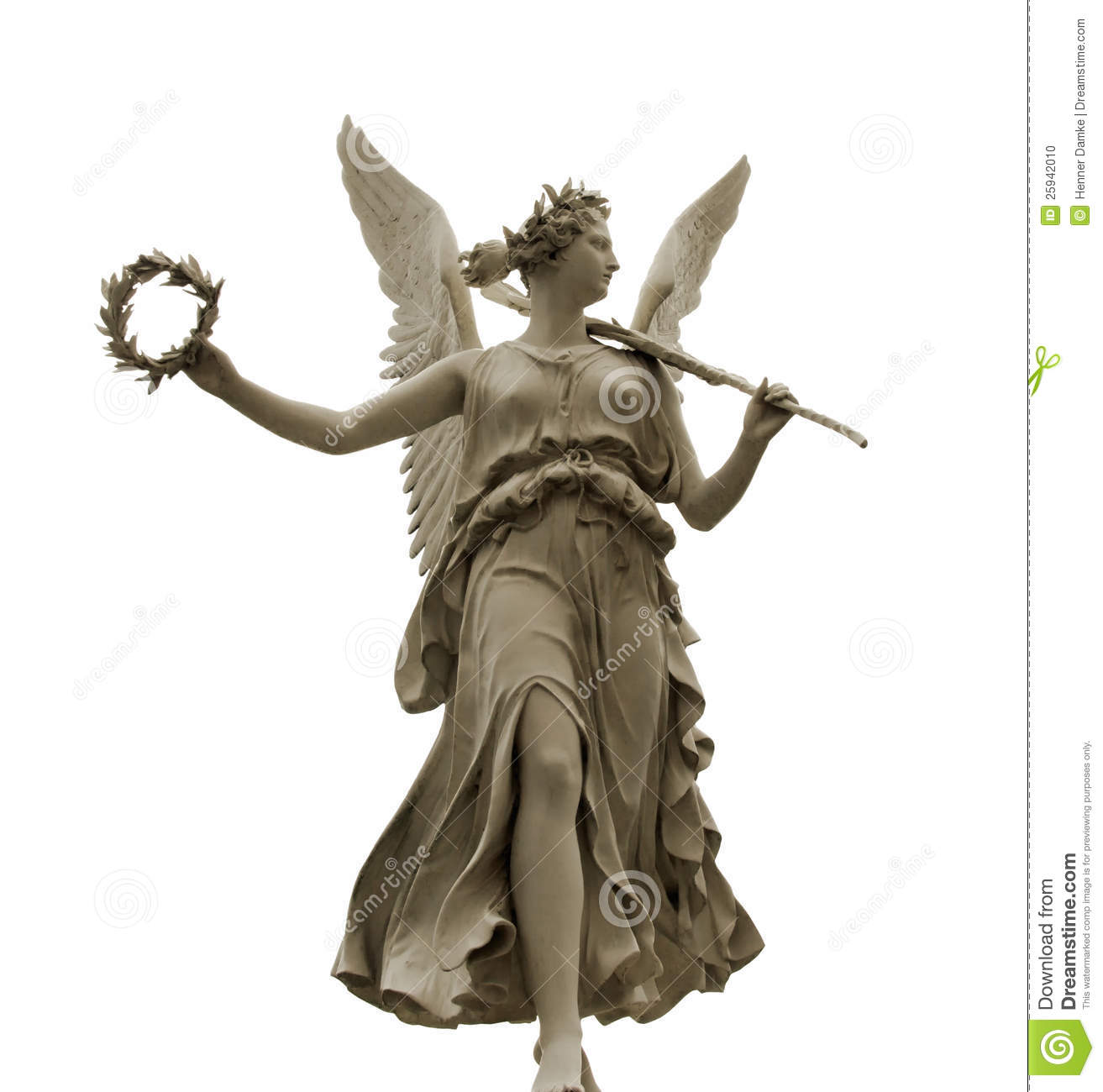 Frontal view of a Statue of the goddess Nike, isolated on white ...