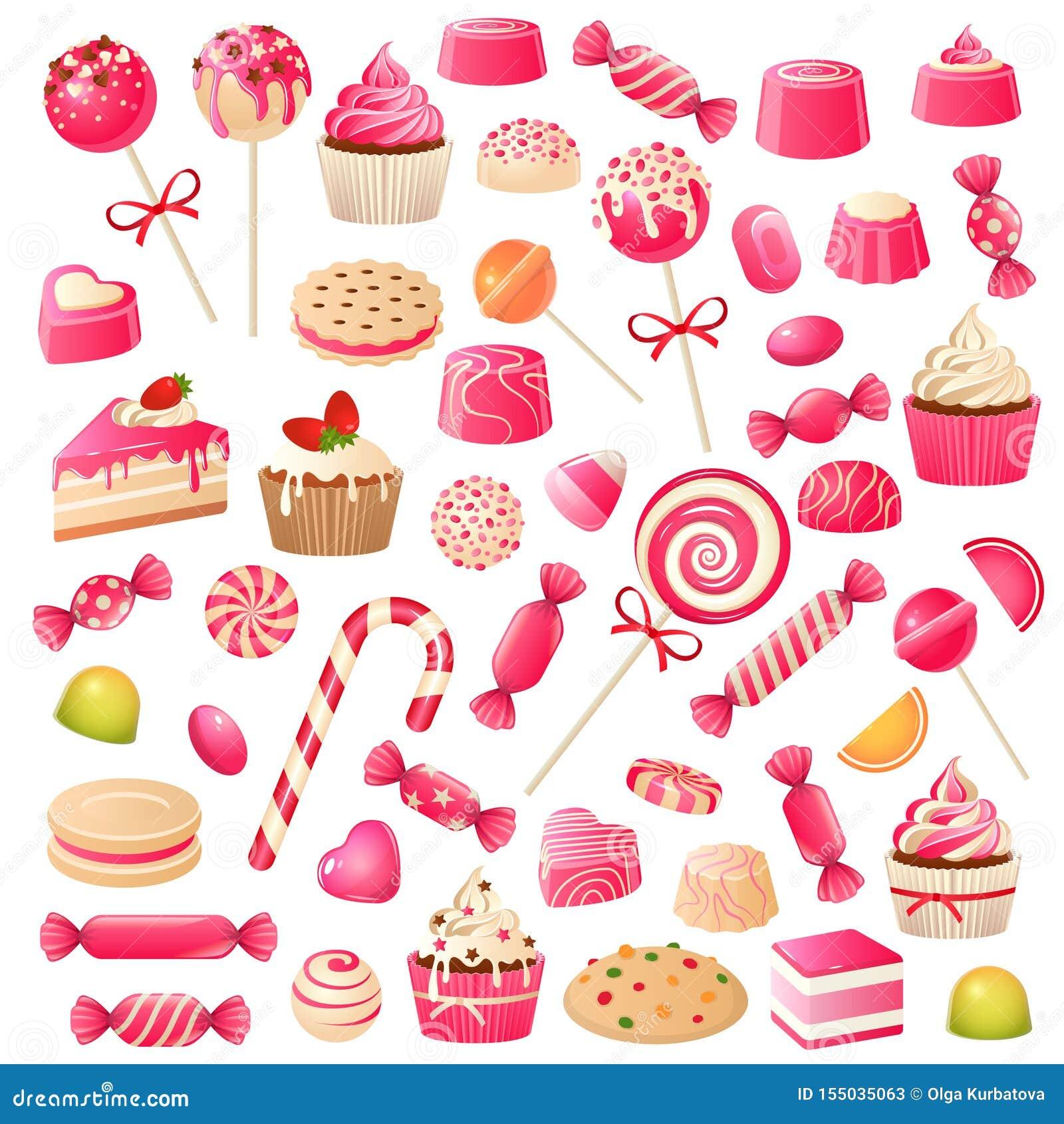Godisupps?ttning Söta efterrättchokladgodisar, marshmallow och drageegelé Chokladkakamuffin, klubbasötsak