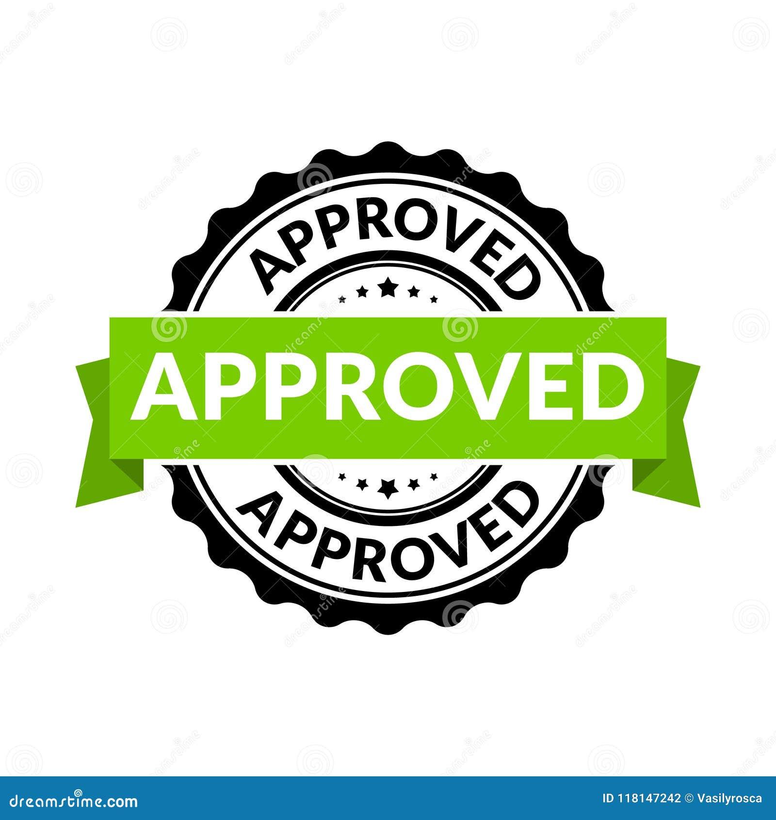 Godkänt skyddsremsastämpeltecken Symbol för tillåtelse för vektorgummirunda för godkännandebakgrund