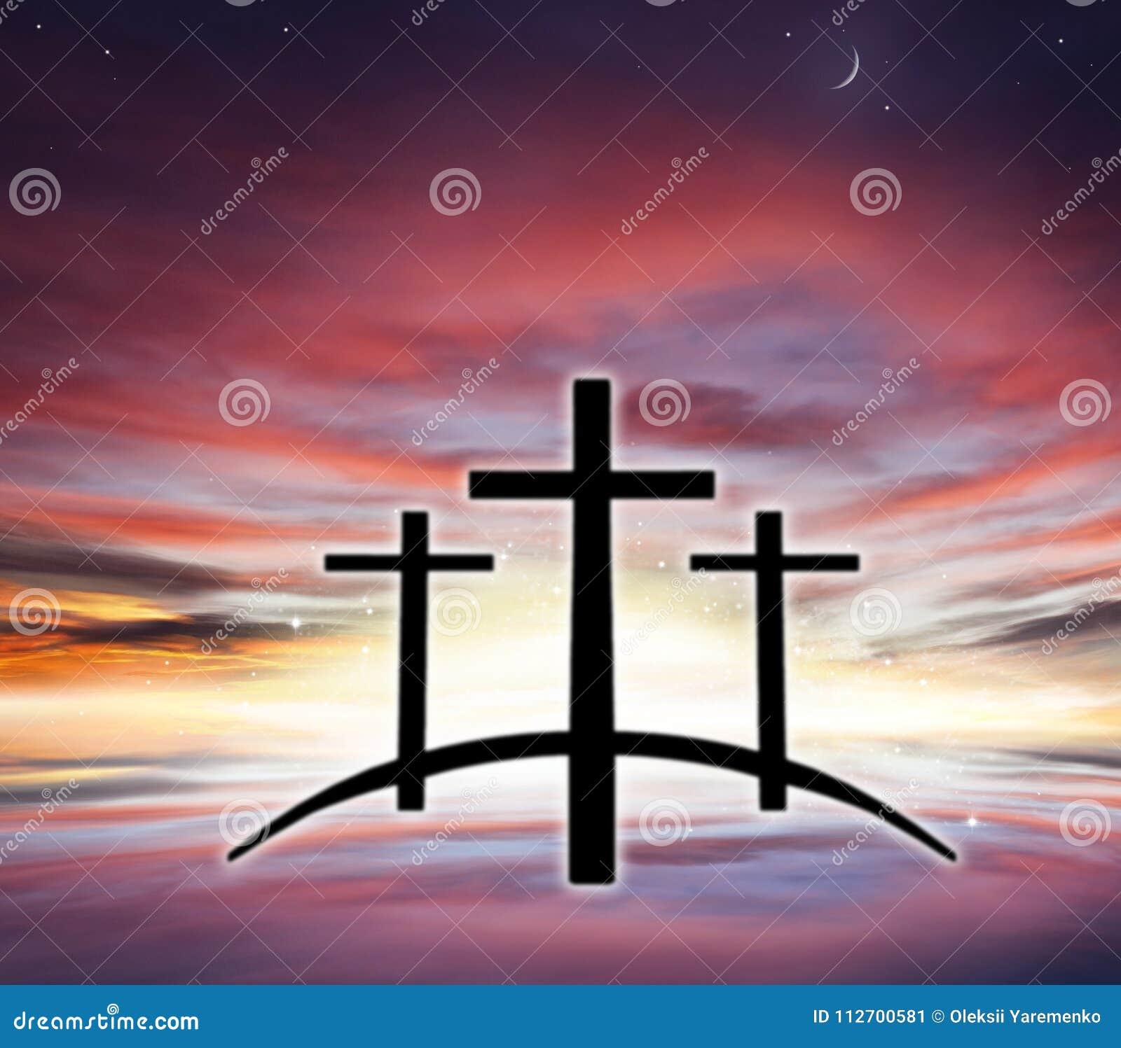 Gods` s Kruis Licht in donkere hemel De achtergrond van de godsdienst Jesus in de hemel