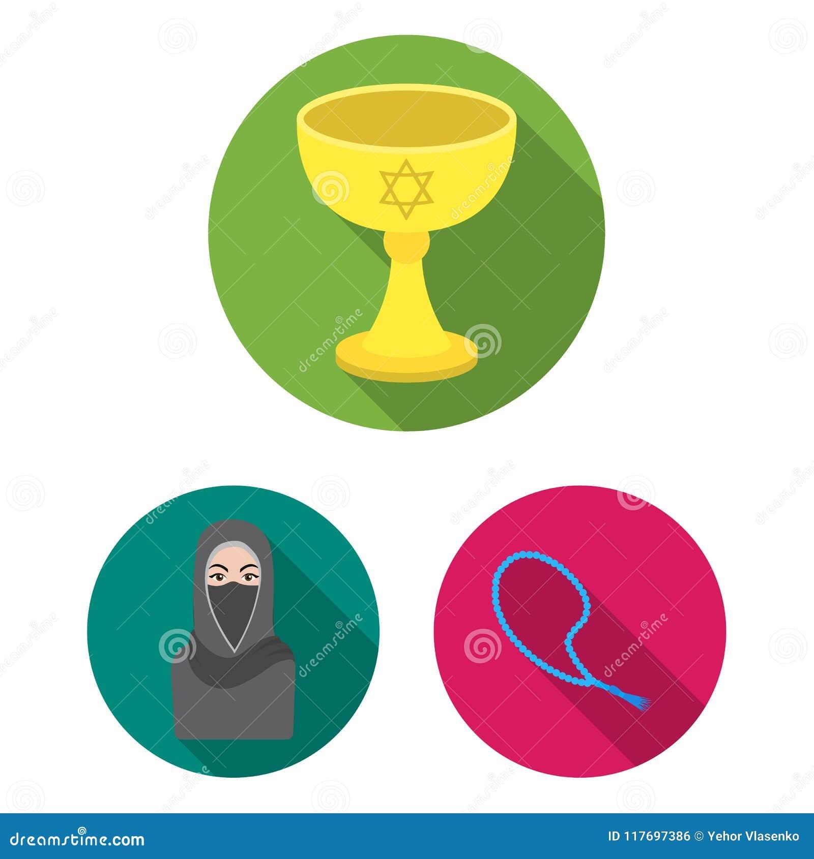 Godsdienst en geloofs vlakke pictogrammen in vastgestelde inzameling voor ontwerp Toebehoren, illustratie van het de voorraadweb