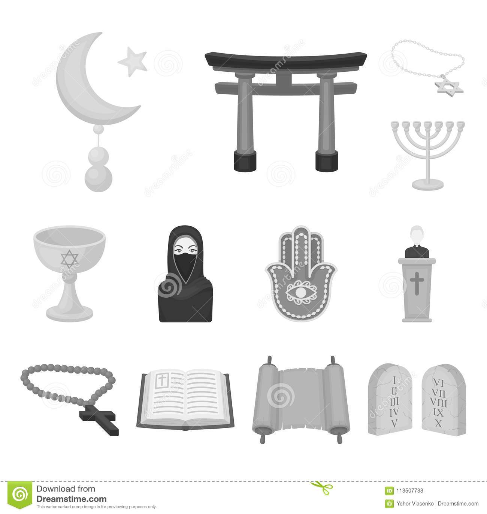 Godsdienst en geloofs zwart-wit pictogrammen in vastgestelde inzameling voor ontwerp Toebehoren, de voorraadweb van het gebed vec