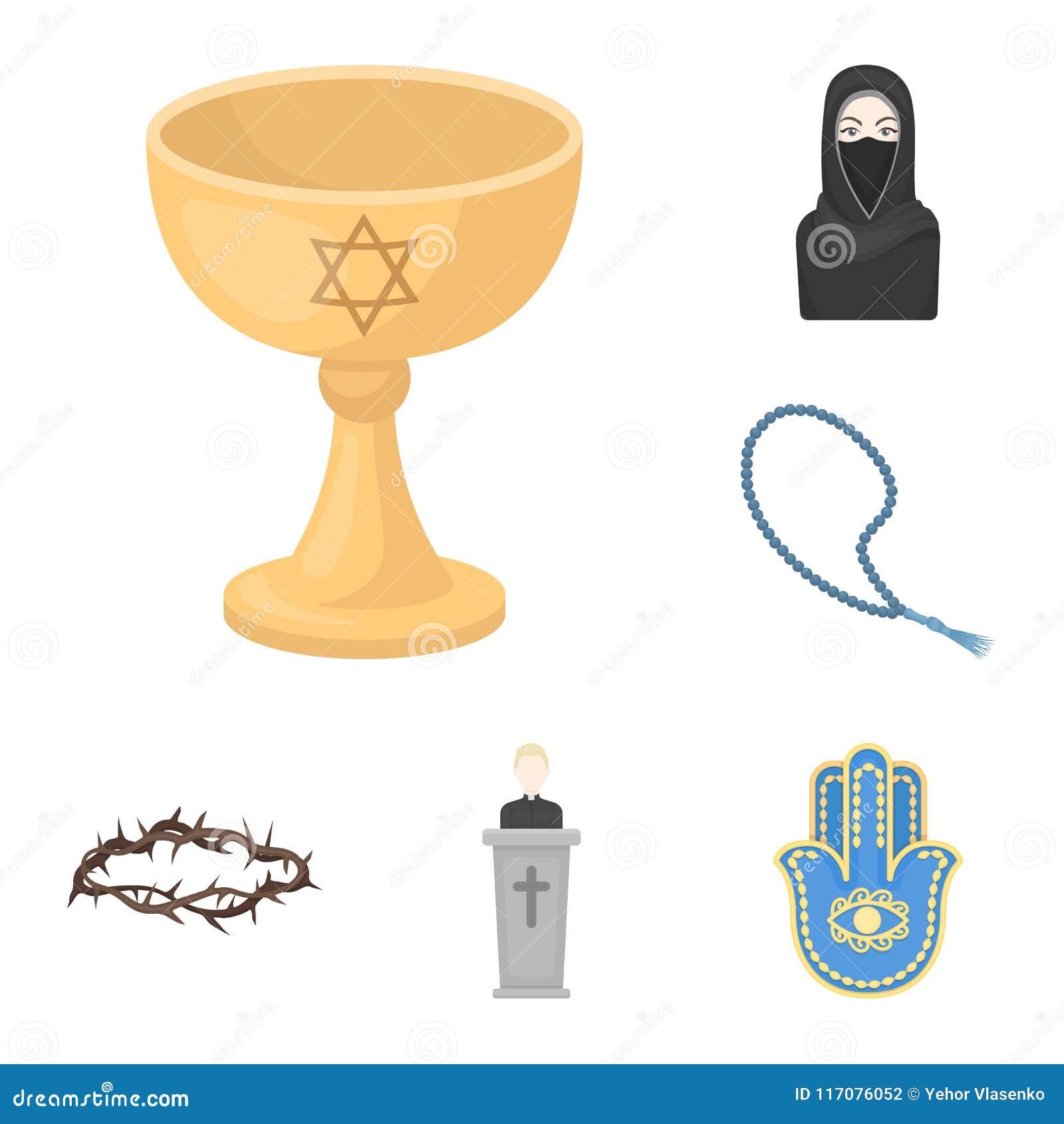 Godsdienst en geloofsbeeldverhaalpictogrammen in vastgestelde inzameling voor ontwerp Toebehoren, illustratie van het de voorraad