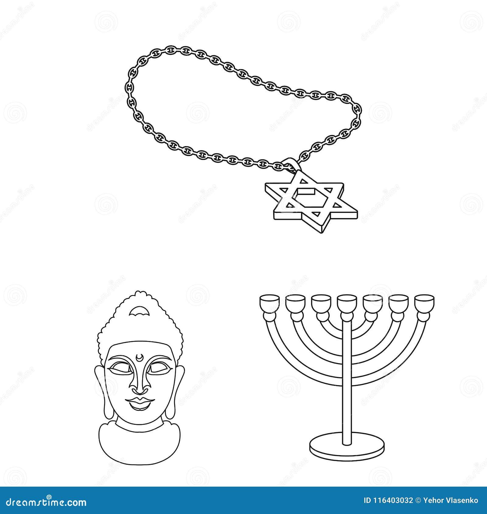 Godsdienst en geloofsoverzichtspictogrammen in vastgestelde inzameling voor ontwerp Toebehoren, illustratie van het de voorraadwe