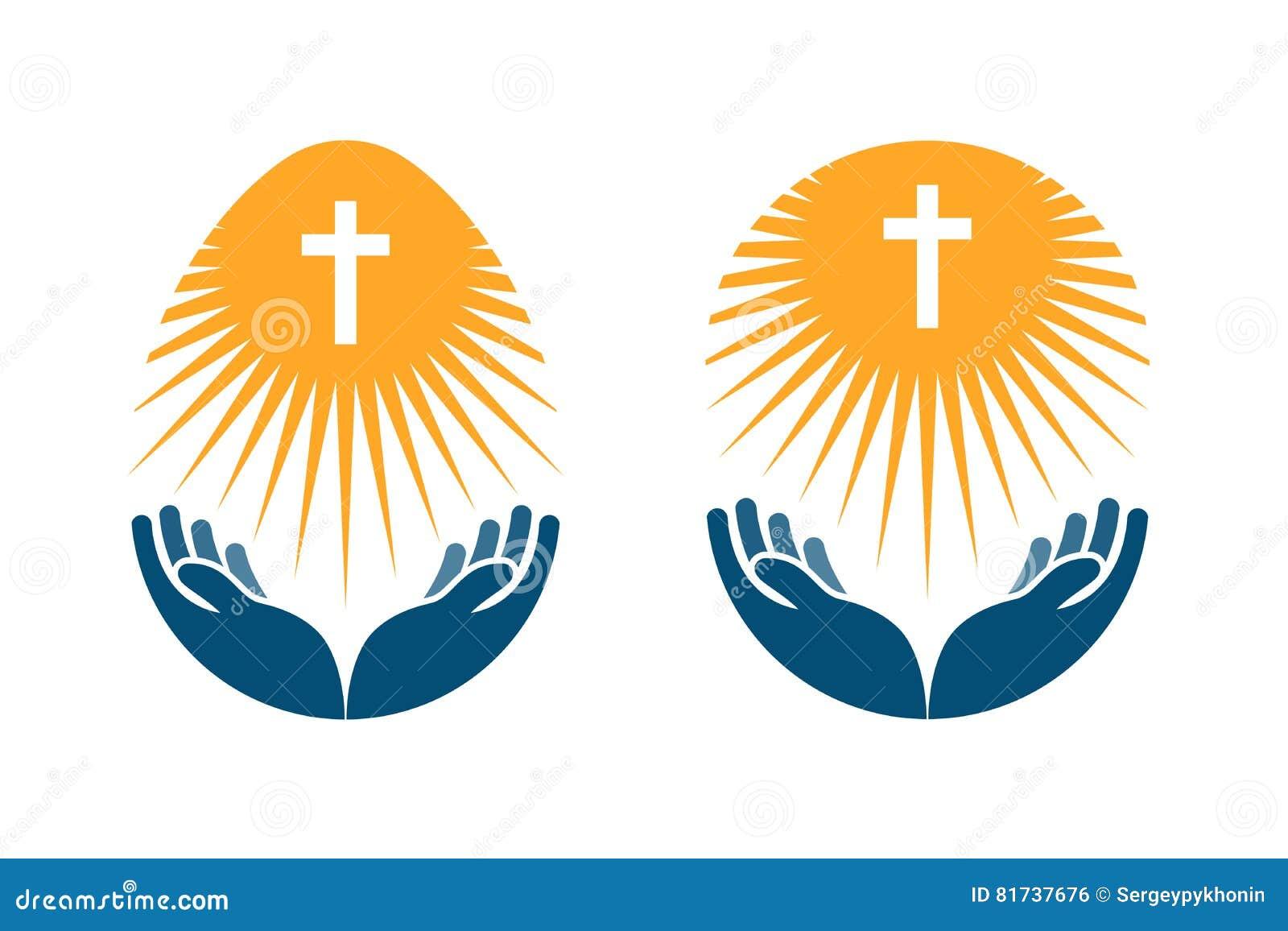 Godsdienst vectorembleem De kerk, bidt of het Bijbelpictogram