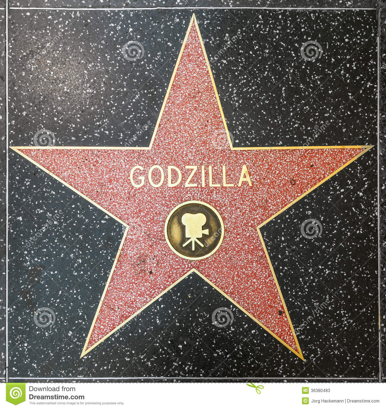 godzilla s star on hollywood walk of fame editorial stock