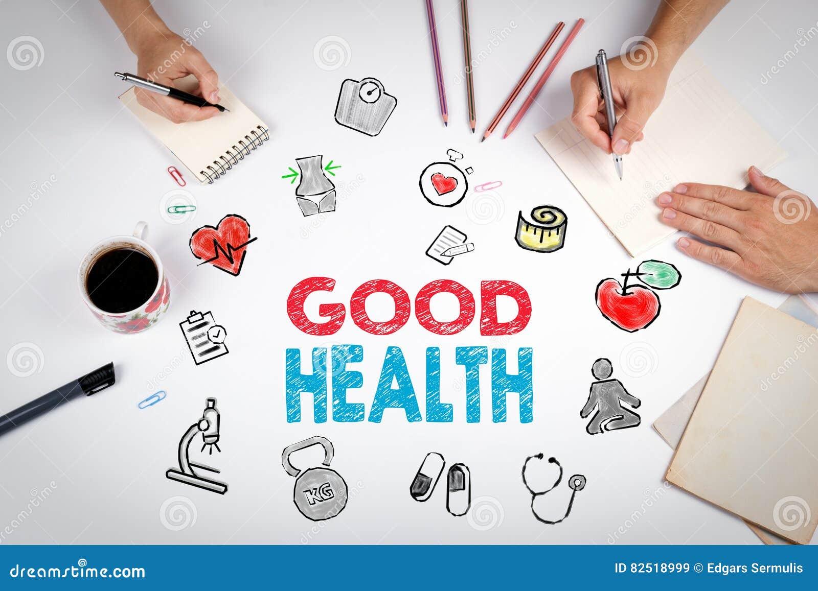 Goed gezondheidsconcept De achtergrond van de Healtylevensstijl De vergadering bij