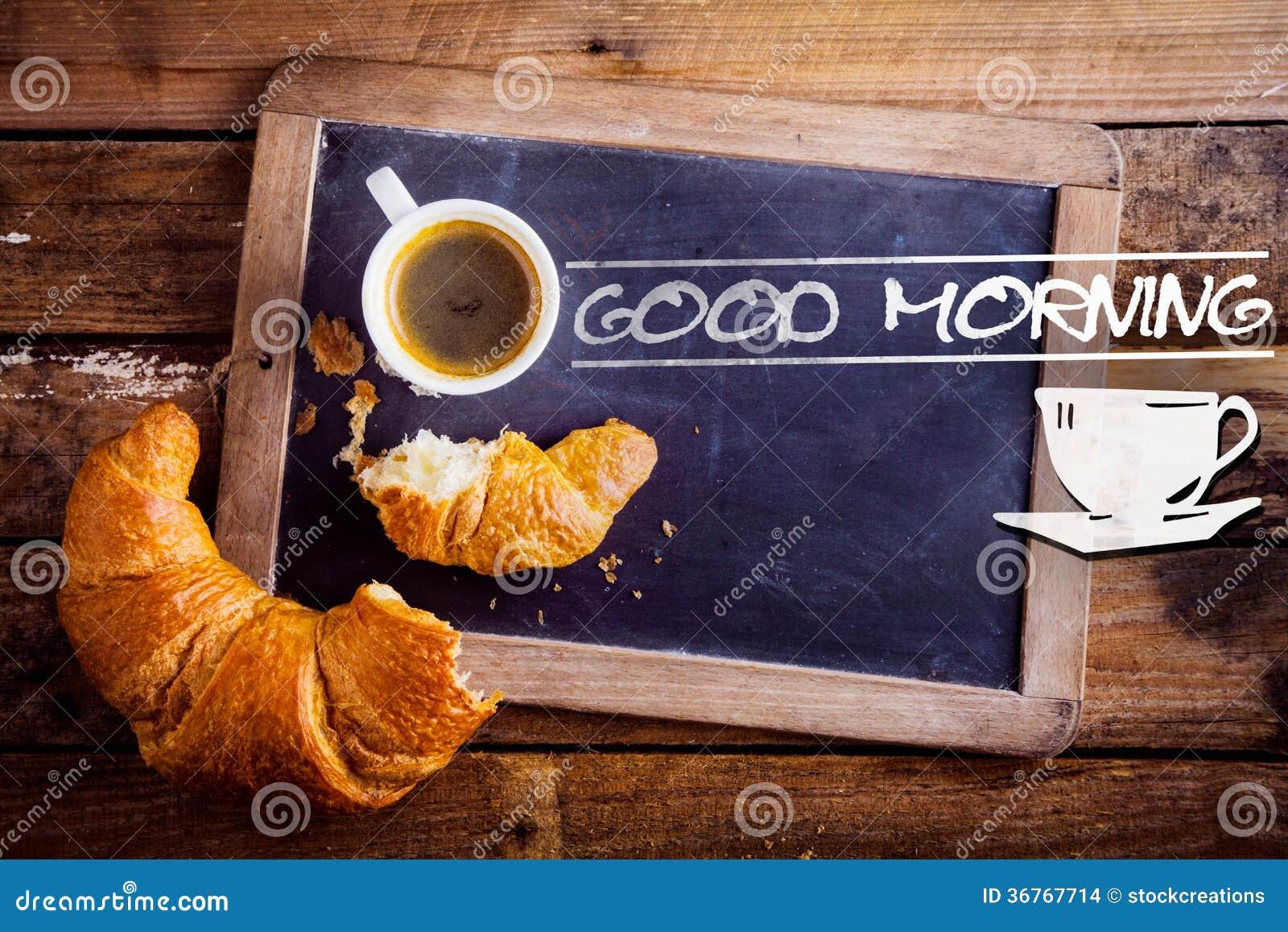 Goedemorgen met koffie en een croissant stock afbeeldingen afbeelding 36767714 - Hoek maaltijd ...