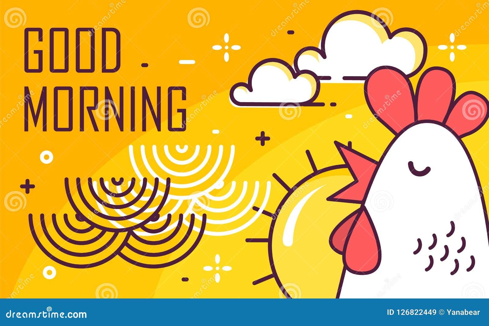 Goedemorgenaffiche met haan, zon en golven op gele achtergrond Dun lijn vlak ontwerp Vector
