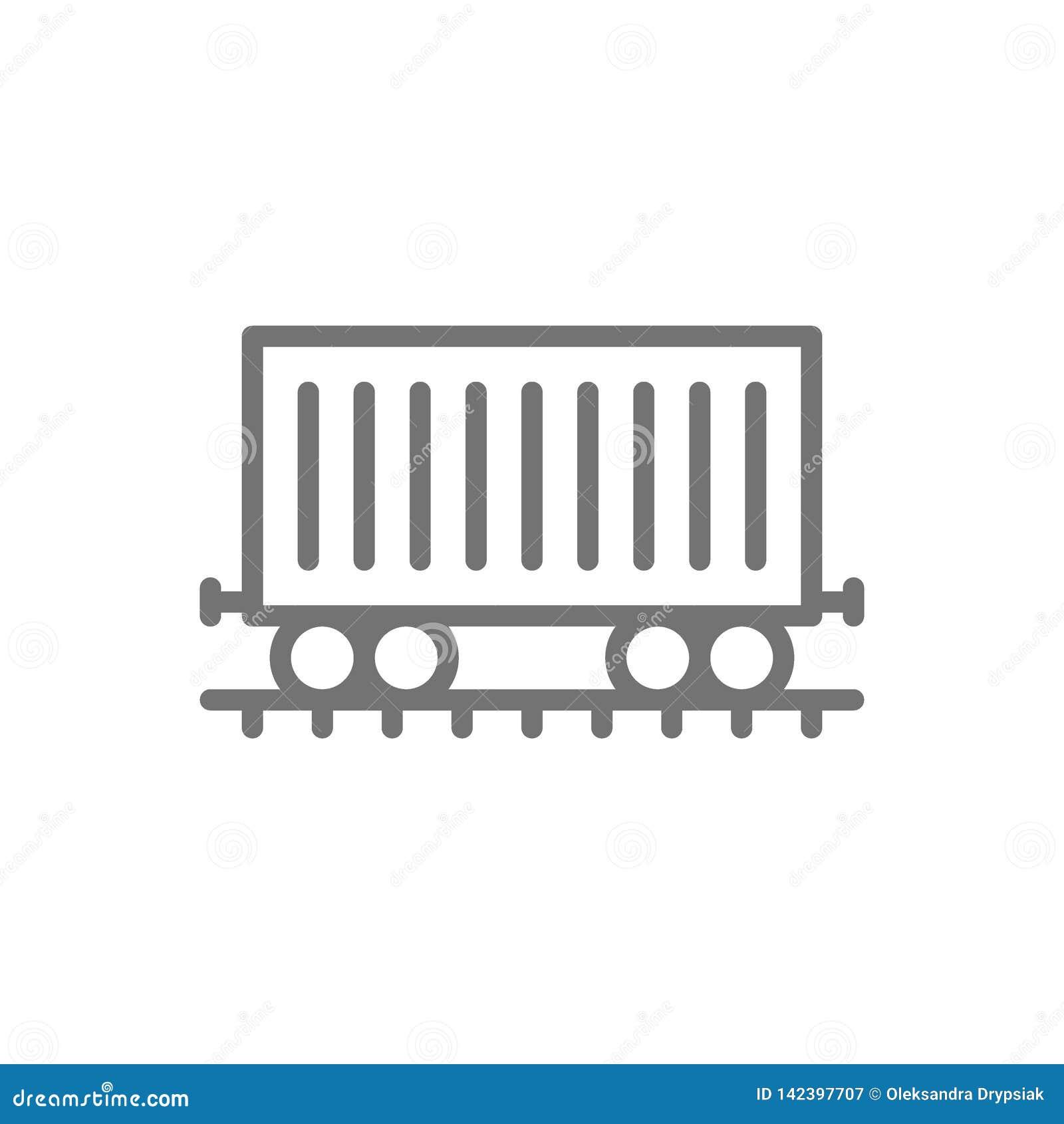 Goederenwagon op sporen, ladingswagen, het pictogram van de treinlijn