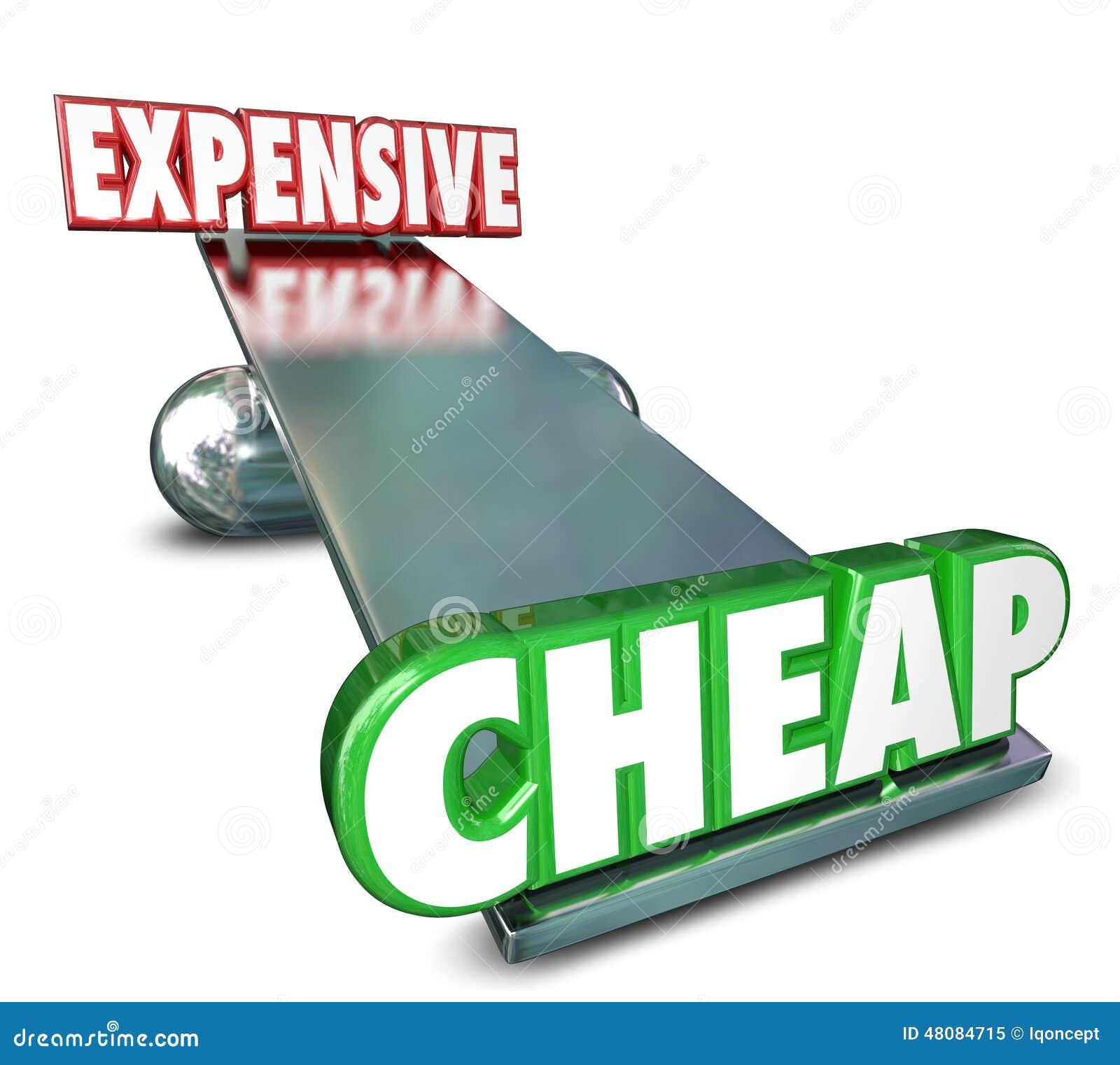 Goedkoop versus Duur zie Zaag het Vergelijken van Prijzenkosten in evenwicht brengen