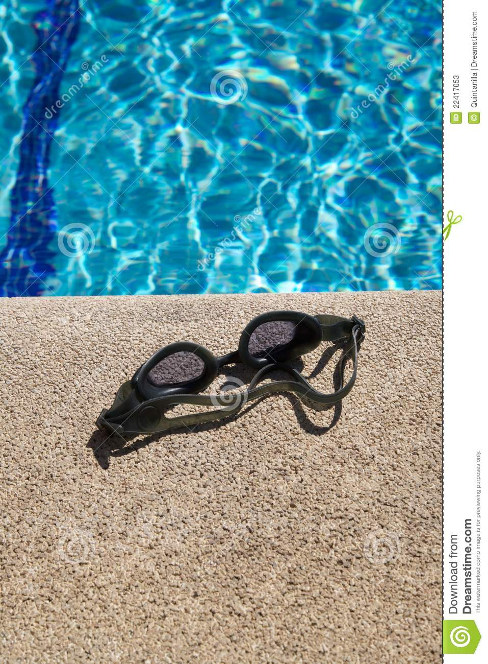 Goggles on curb of swimming pool stock photos image for Pool koi goggles