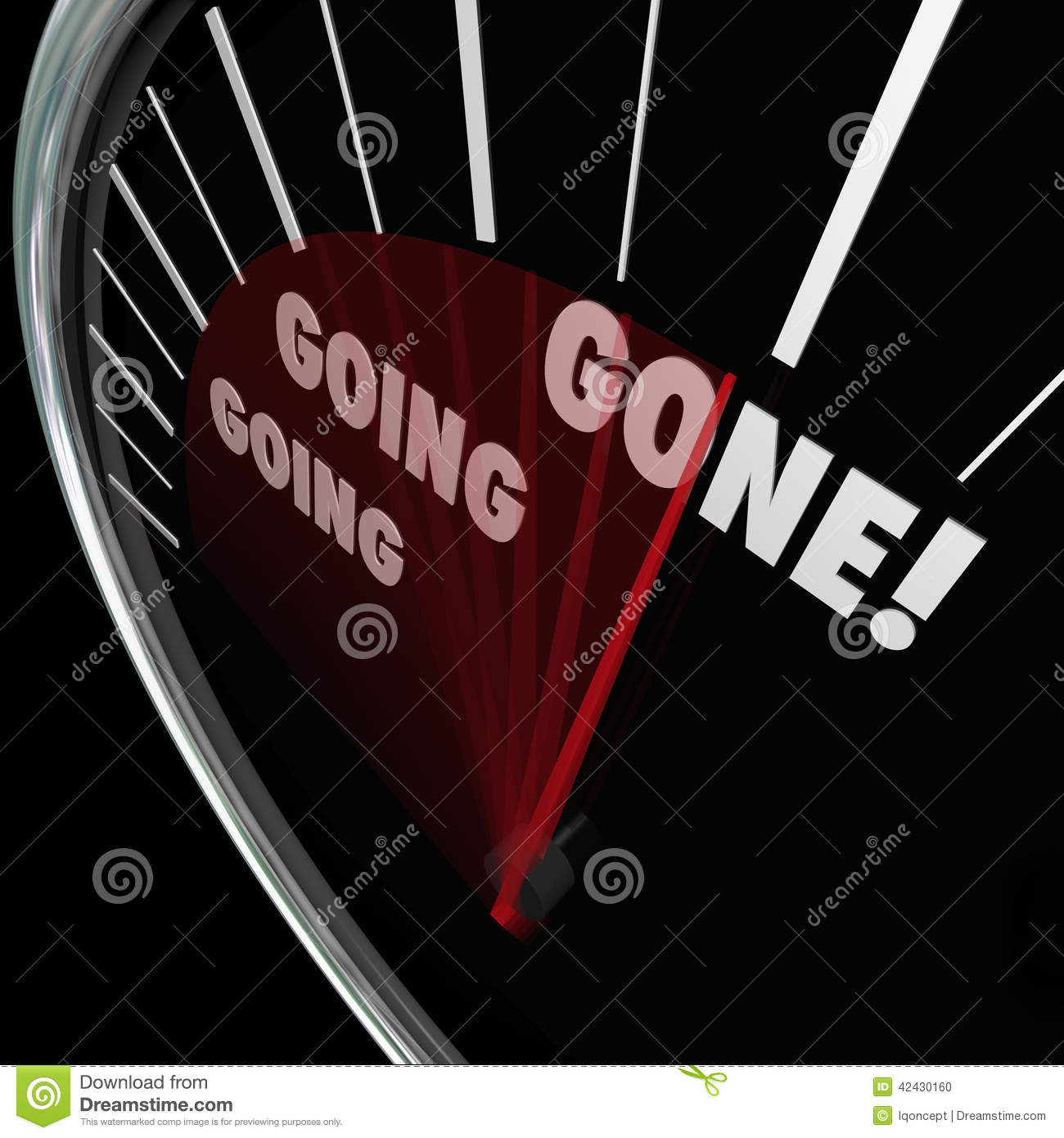Going Going Gone Speedometer Fast Quick Action Bidding Auction