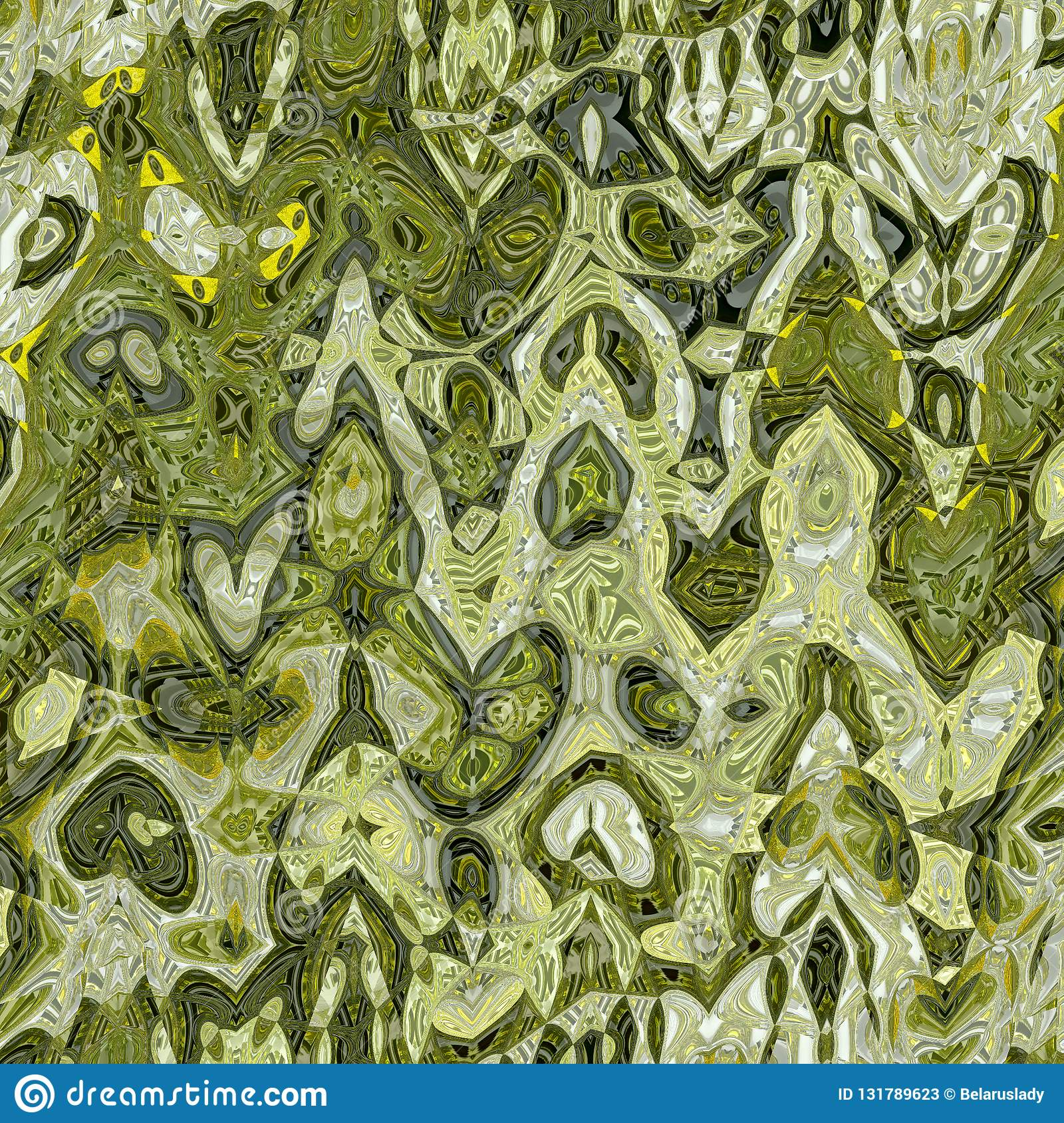 Going green and ocher pattern with watercolor effect and inkblot