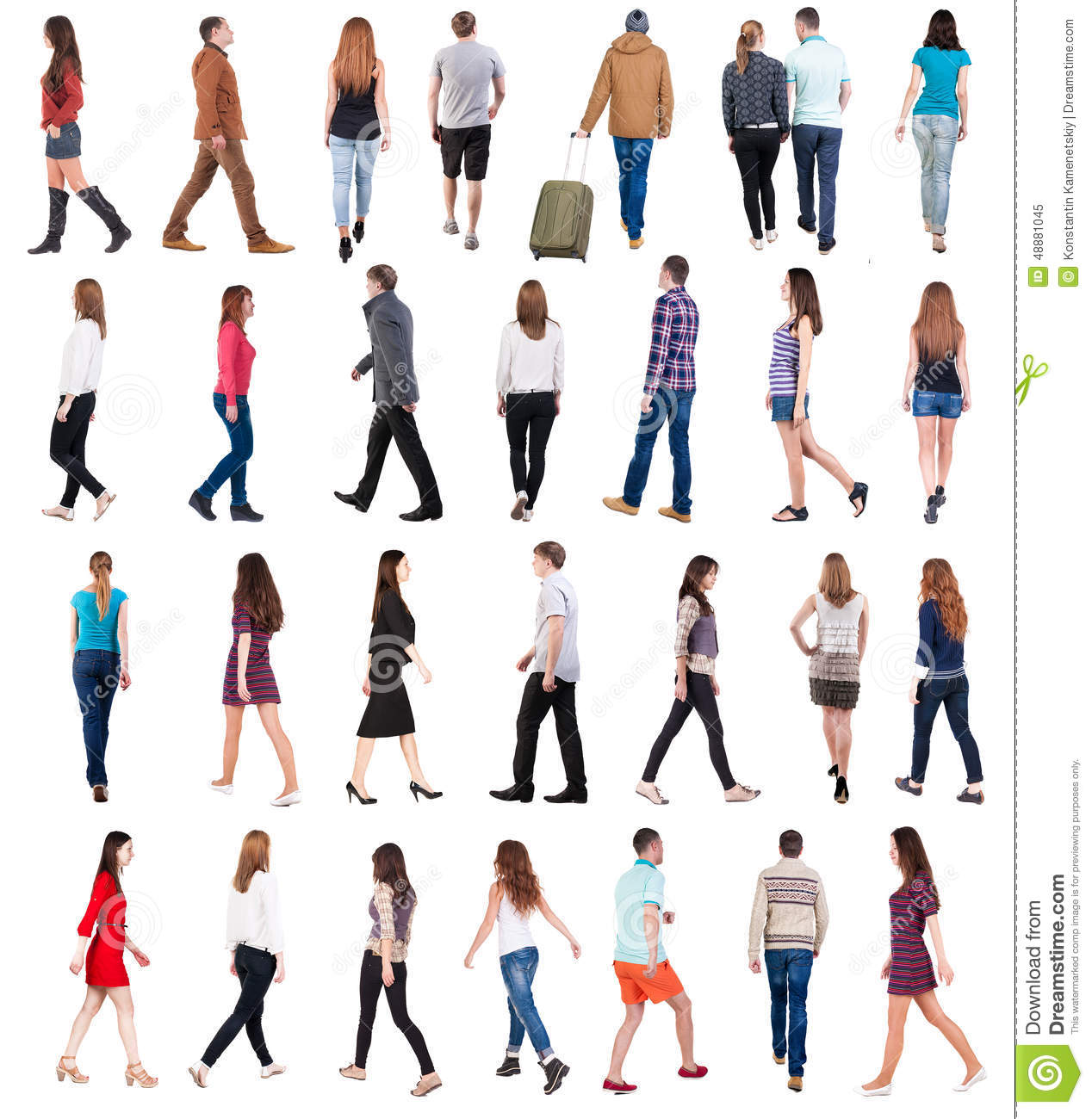 Going People In Motion Set Stock Photo Image 48881045