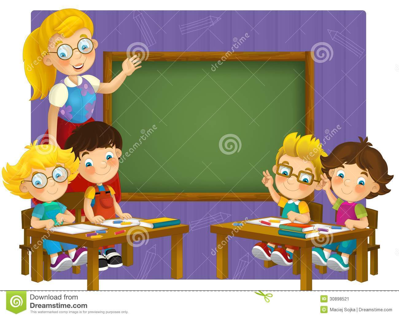 Going To School - Illustration For The Children Stock Image - Image ...