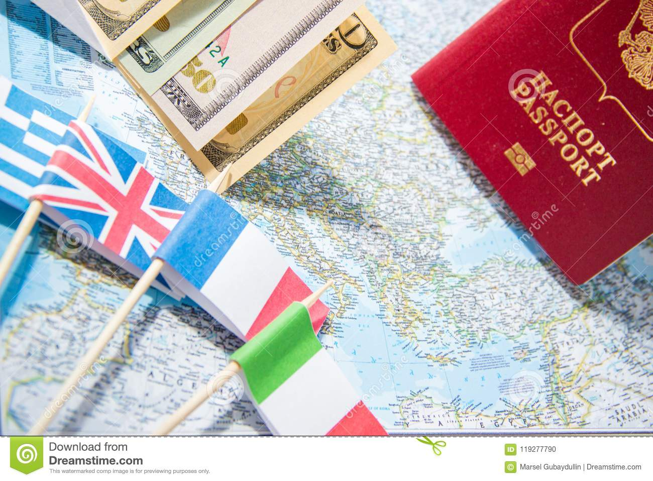 Going To Travel. Passport, Money, Flags Of Greece, UK, Italy, France ...