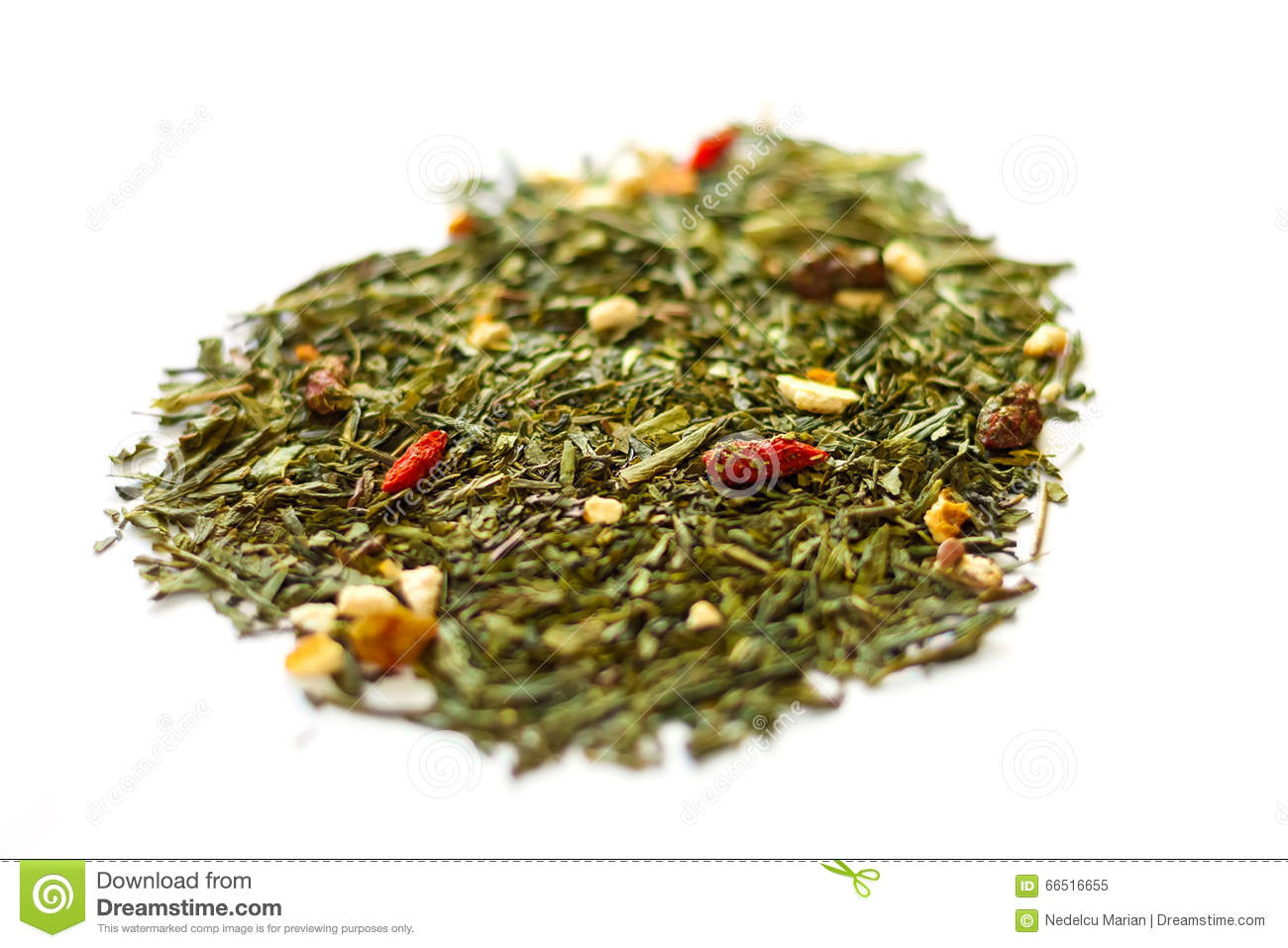 Goji Berries And Green Tea Leaves Stock Image Image Of Green
