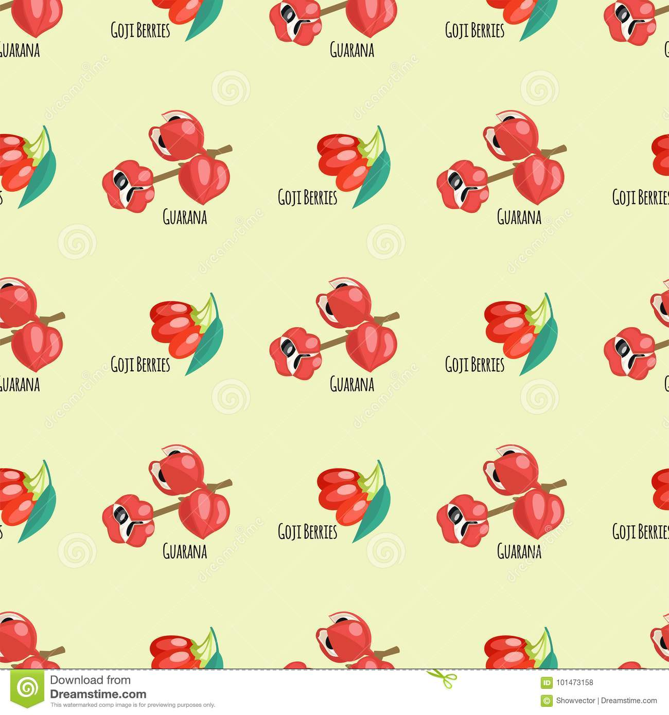 Goji berries guarana seamless pattern background red fruits dietary drawing energy food vector illustration.