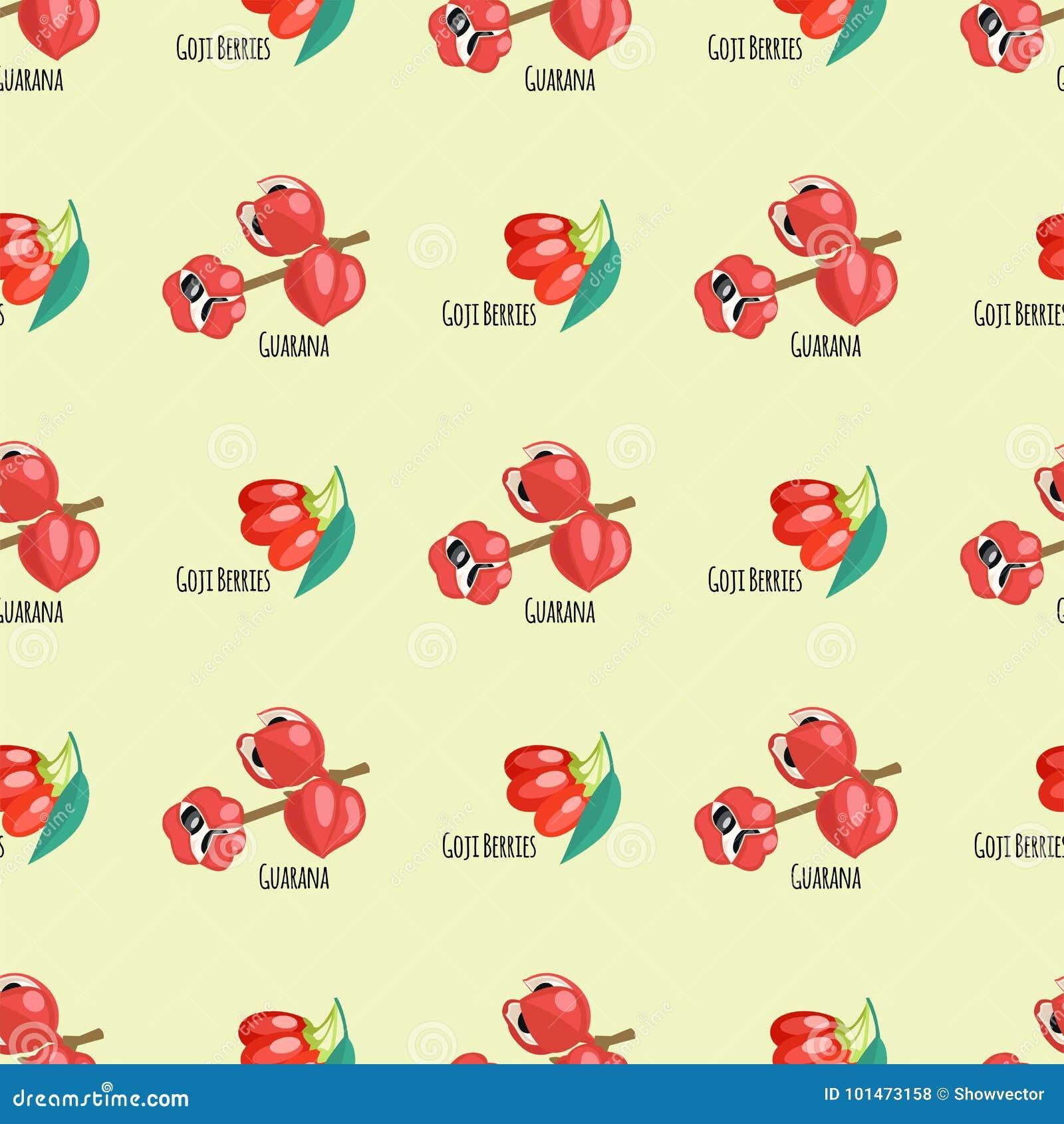 Goji jagod guarana tła bezszwowych deseniowych czerwonych owoc żywienioniowa rysunkowa energetyczna karmowa wektorowa ilustracja
