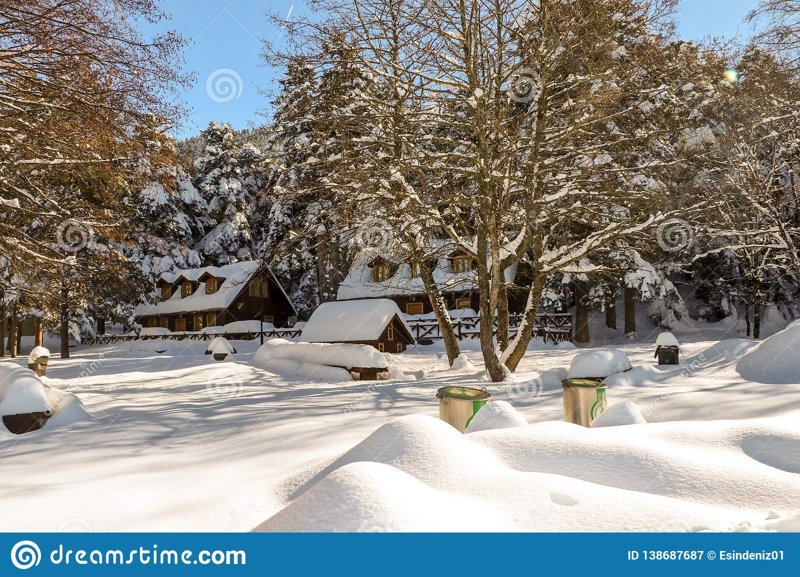 Golcuk / Bolu / Turkey, winter season snow landscape