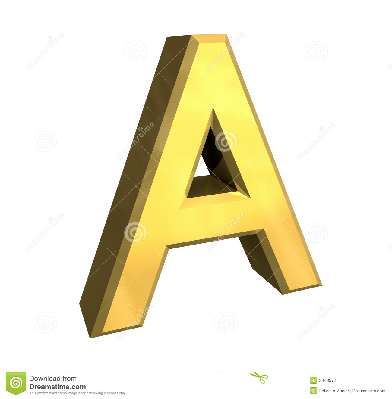 gold 3d letter a stock photography image 3848572