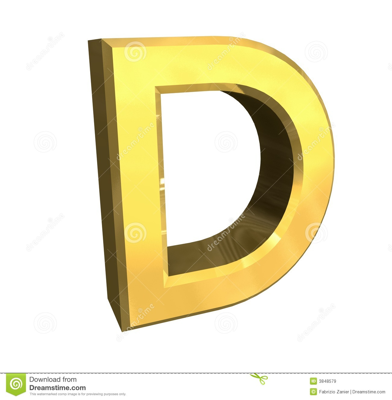 Gold 3d letter D stock illustration. Image of read, type ...