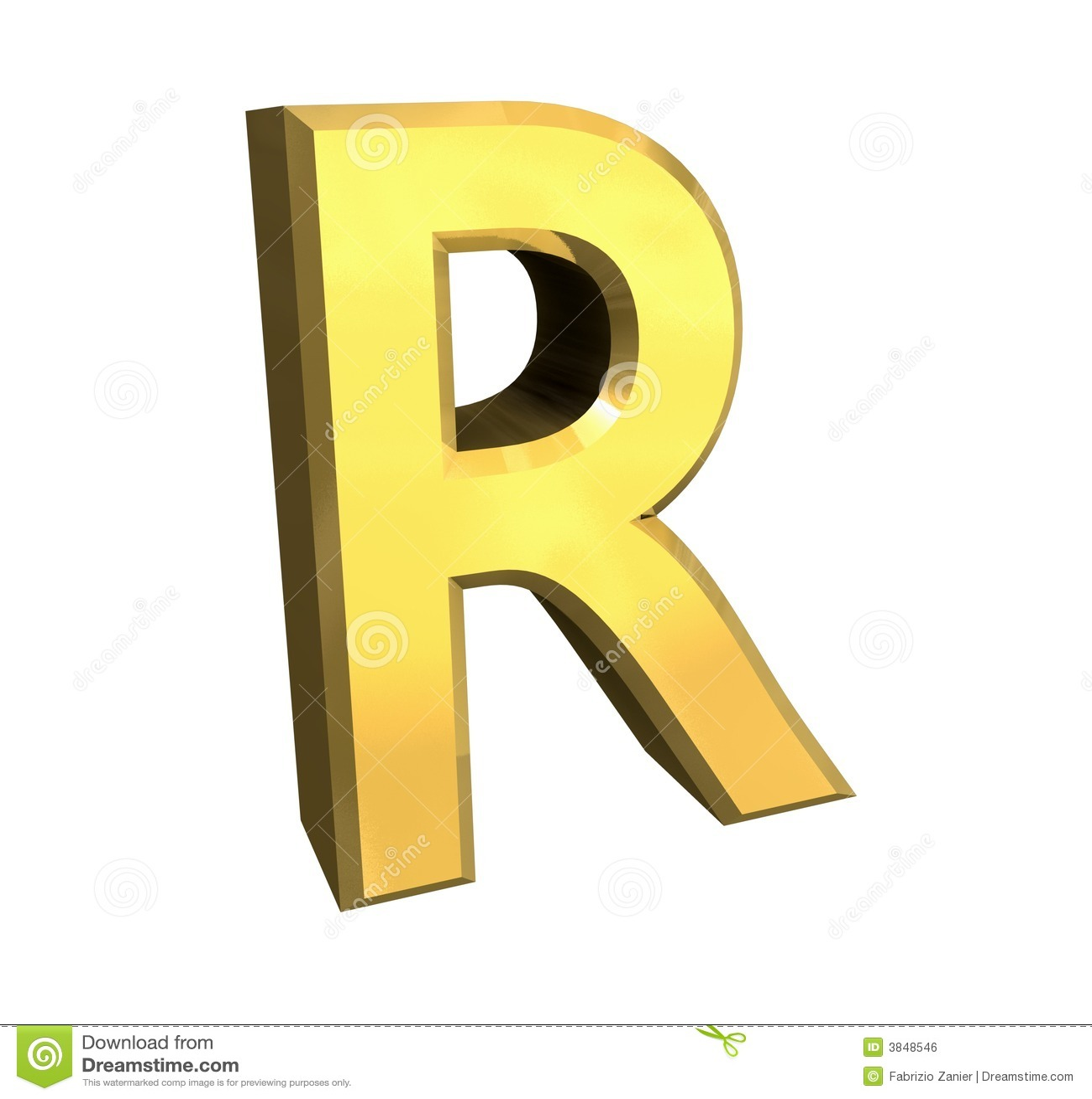 Gold 3d letter R stock illustration. Image of english ...
