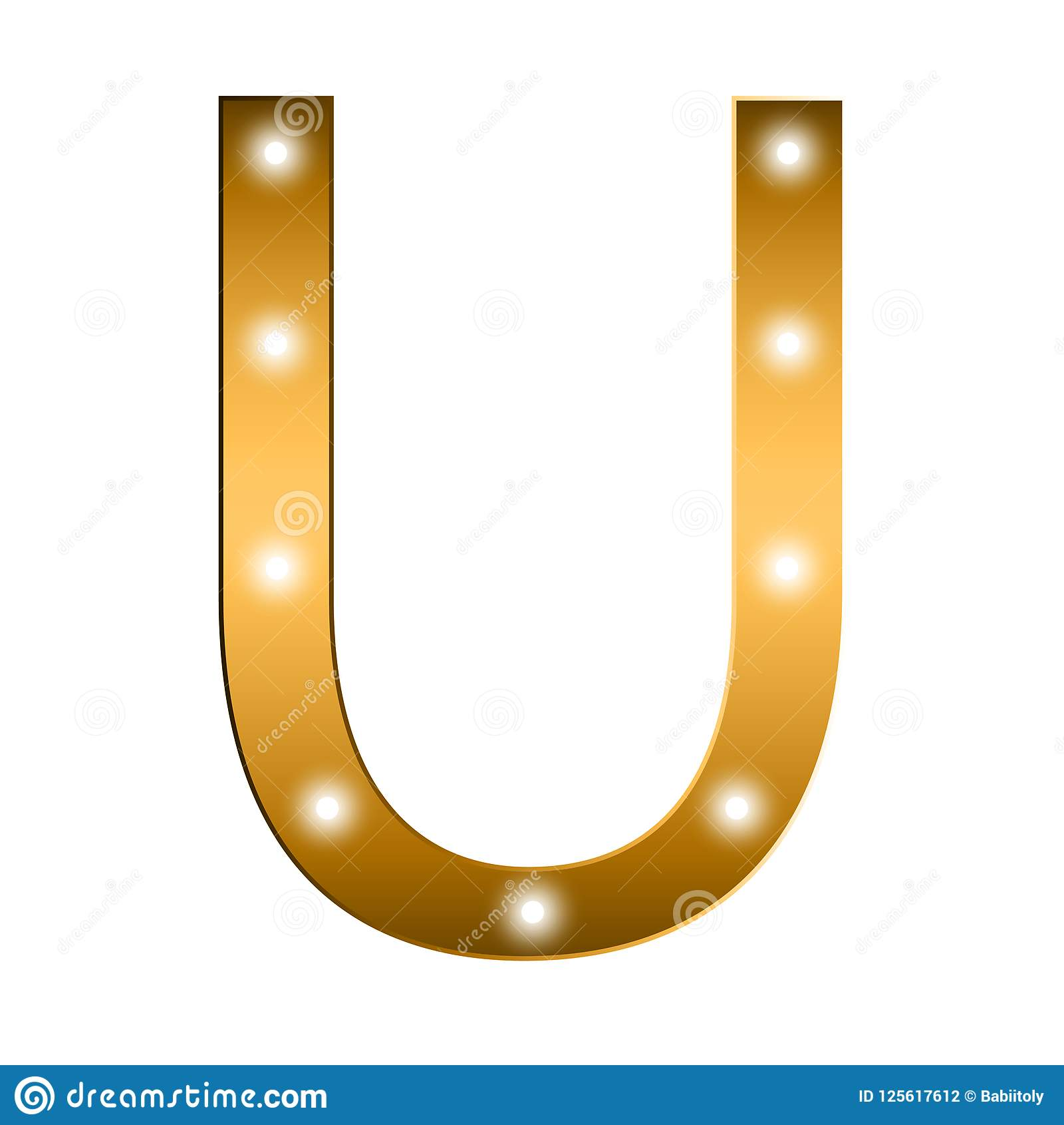 Alphabet Letter  Letter U  Gold Alphabet Logo  Font Style
