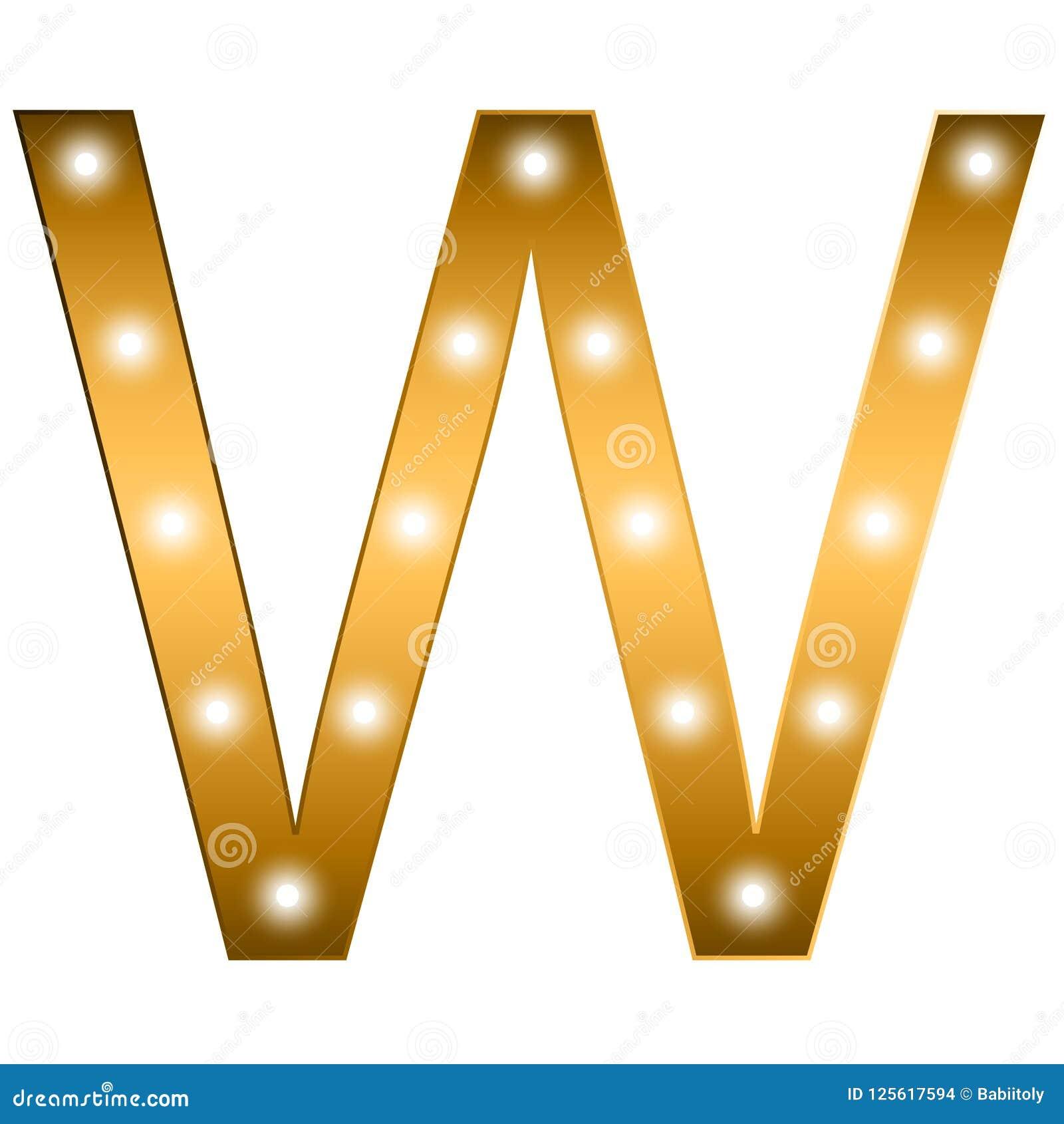 Alphabet Letter  Letter W  Gold Alphabet Logo  Font Style