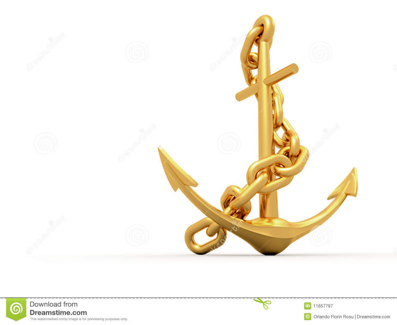 Gold Anchor Royalty Free Stock Photography