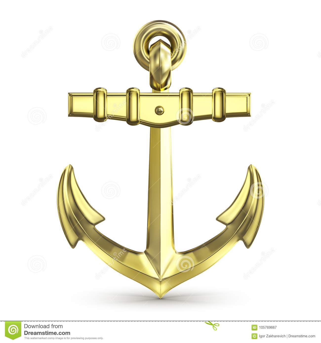 Gold Anchor On A White Background Stock Illustration