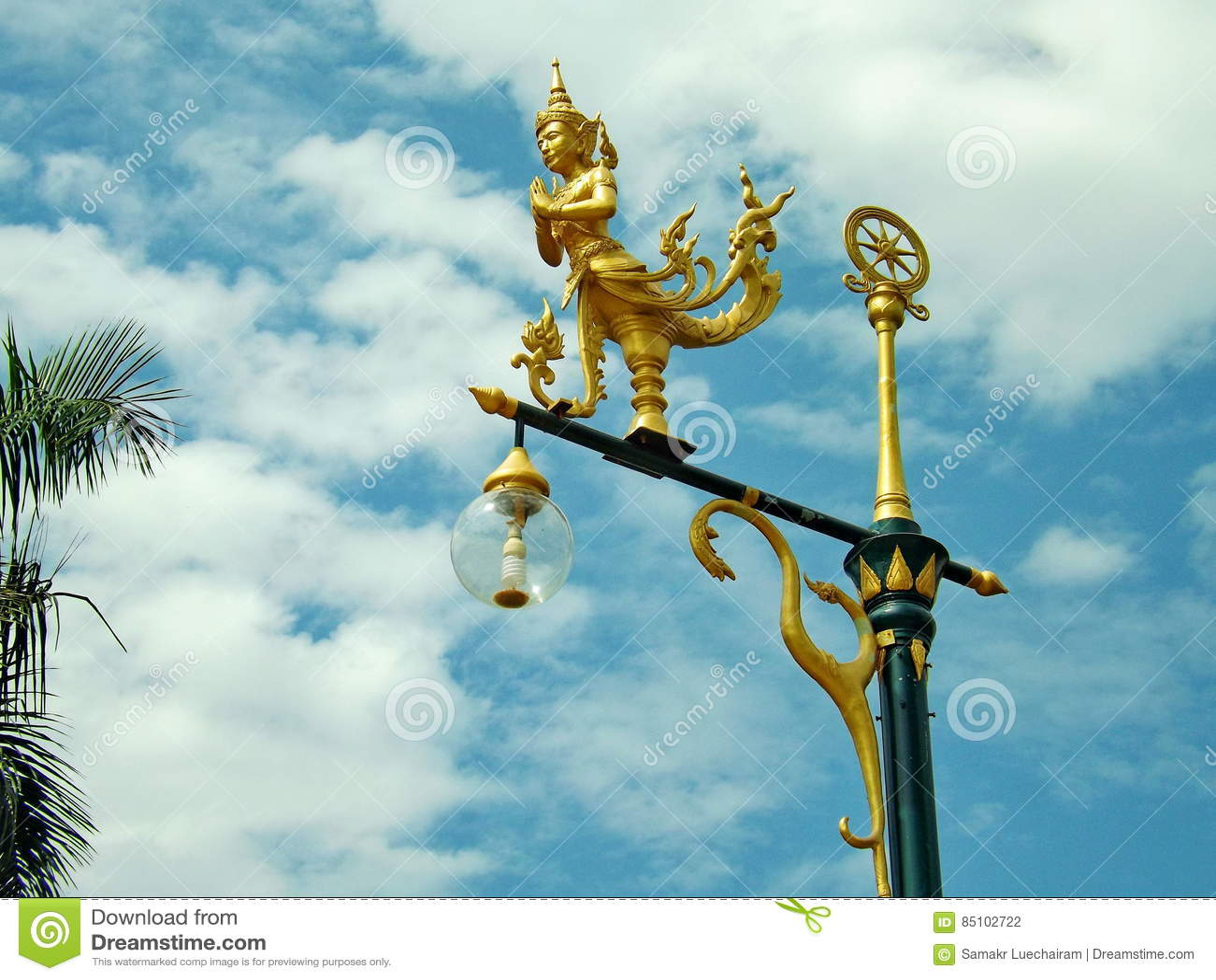 Gold angel on pole