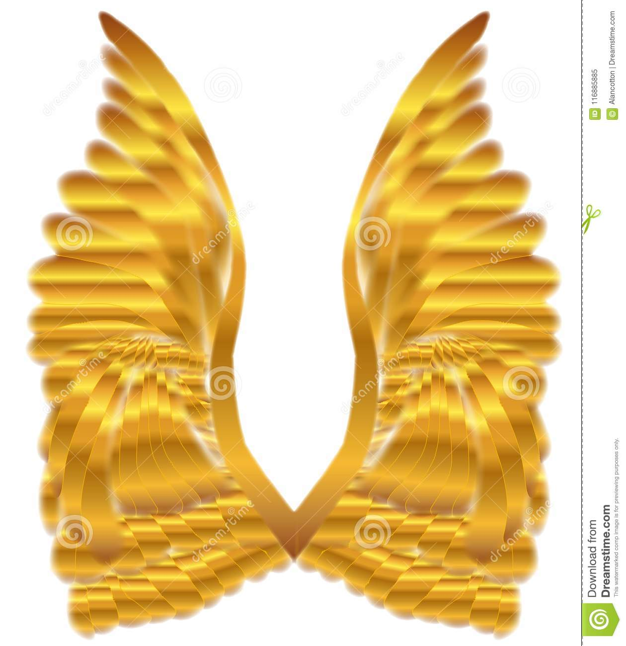 Gold Angel Wings Over White Stock Vector - Illustration of angelic ...