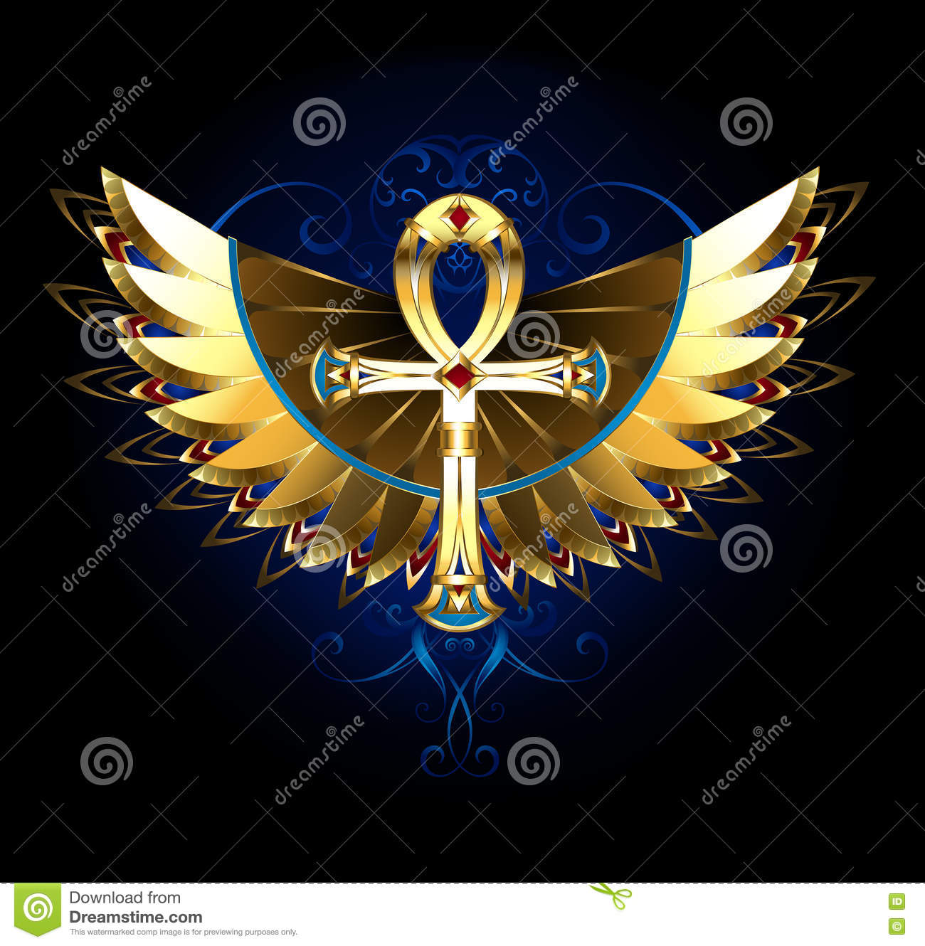 Gold Ankh With Wings Stock Vector Illustration Of Fantasy 78177372