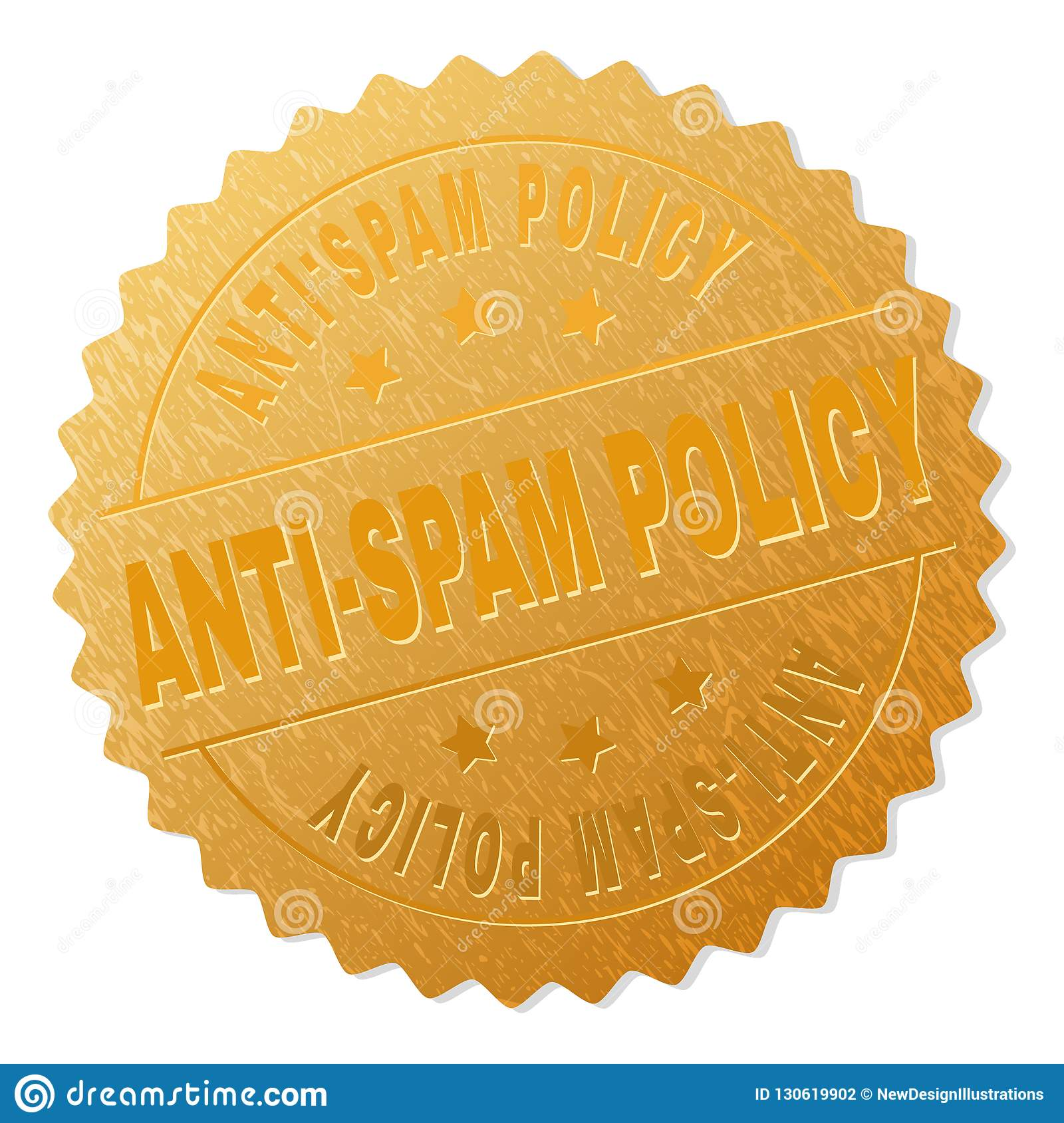 Gold ANTI-SPAM POLICY Medal Stamp Stock Vector