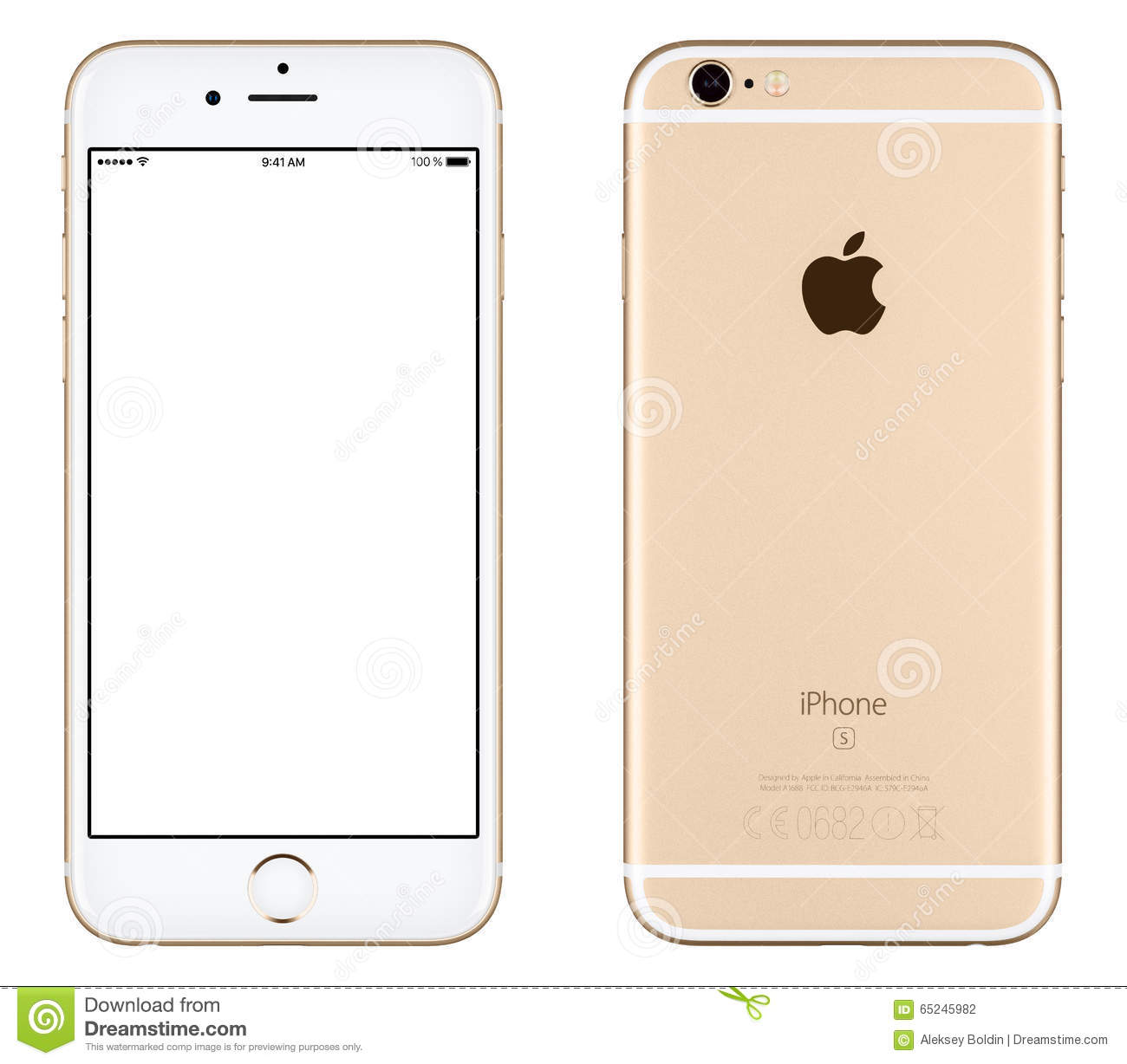 gold apple iphone 6s mockup front view and back side