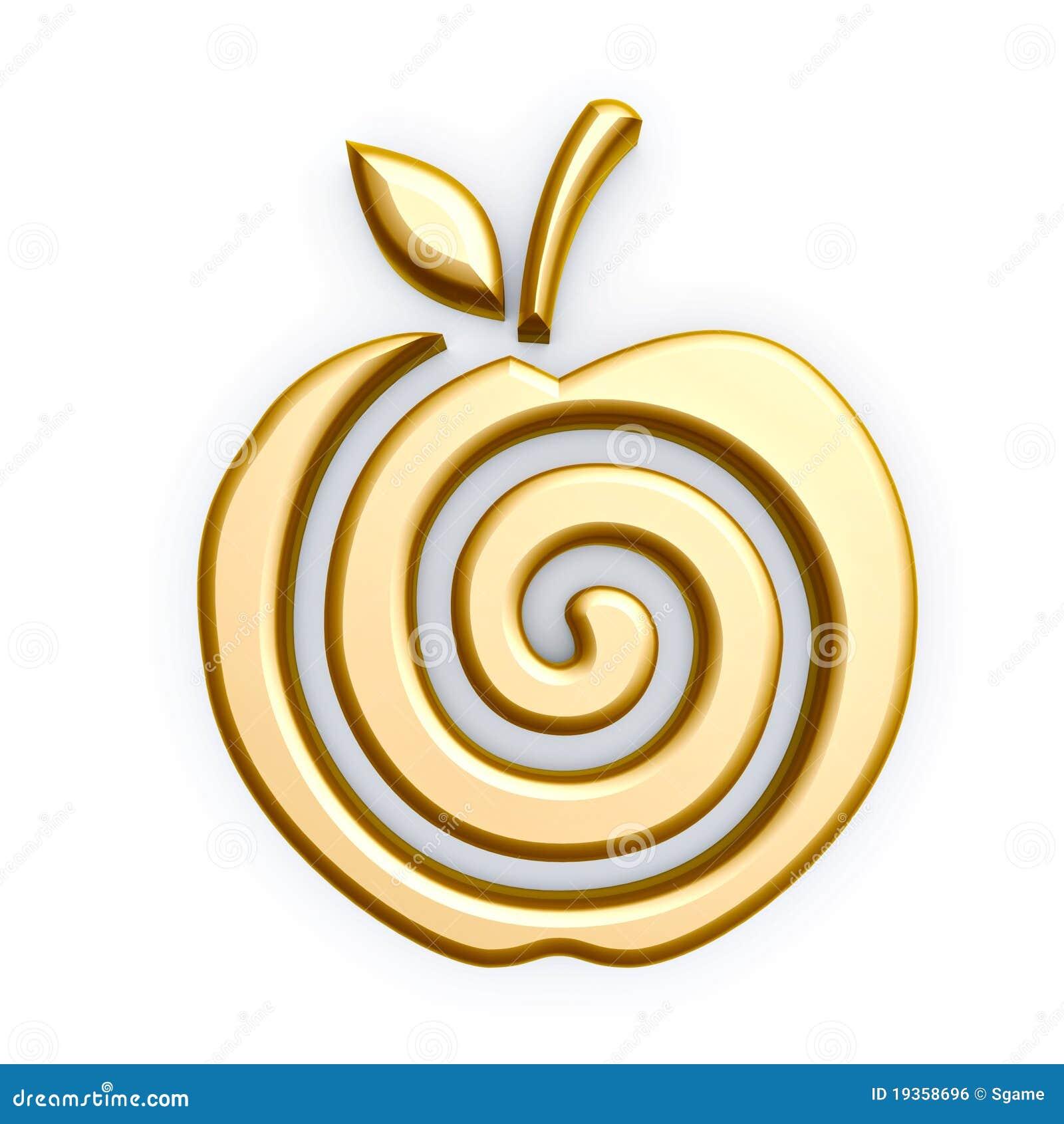 Gold Apple Symbol Stock Illustration Illustration Of Treasure