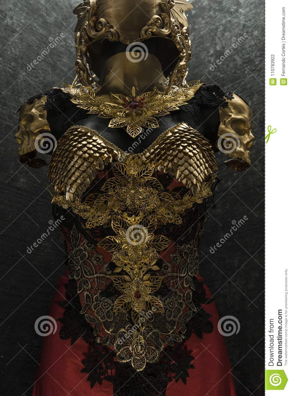 Gold Armor And Metal Pieces Handmade It Has A Golden Breastplate Of Dragon Scales With A Helmet Of Gothic Pieces And Red Feathers Editorial Photography Image Of Gold Cross 110783922 A wide variety of dragon armour options are available to you, such as material, use, and theme. https www dreamstime com gold armor metal pieces handmade has golden breastplate dragon scales helmet gothic pieces red feathers image110783922